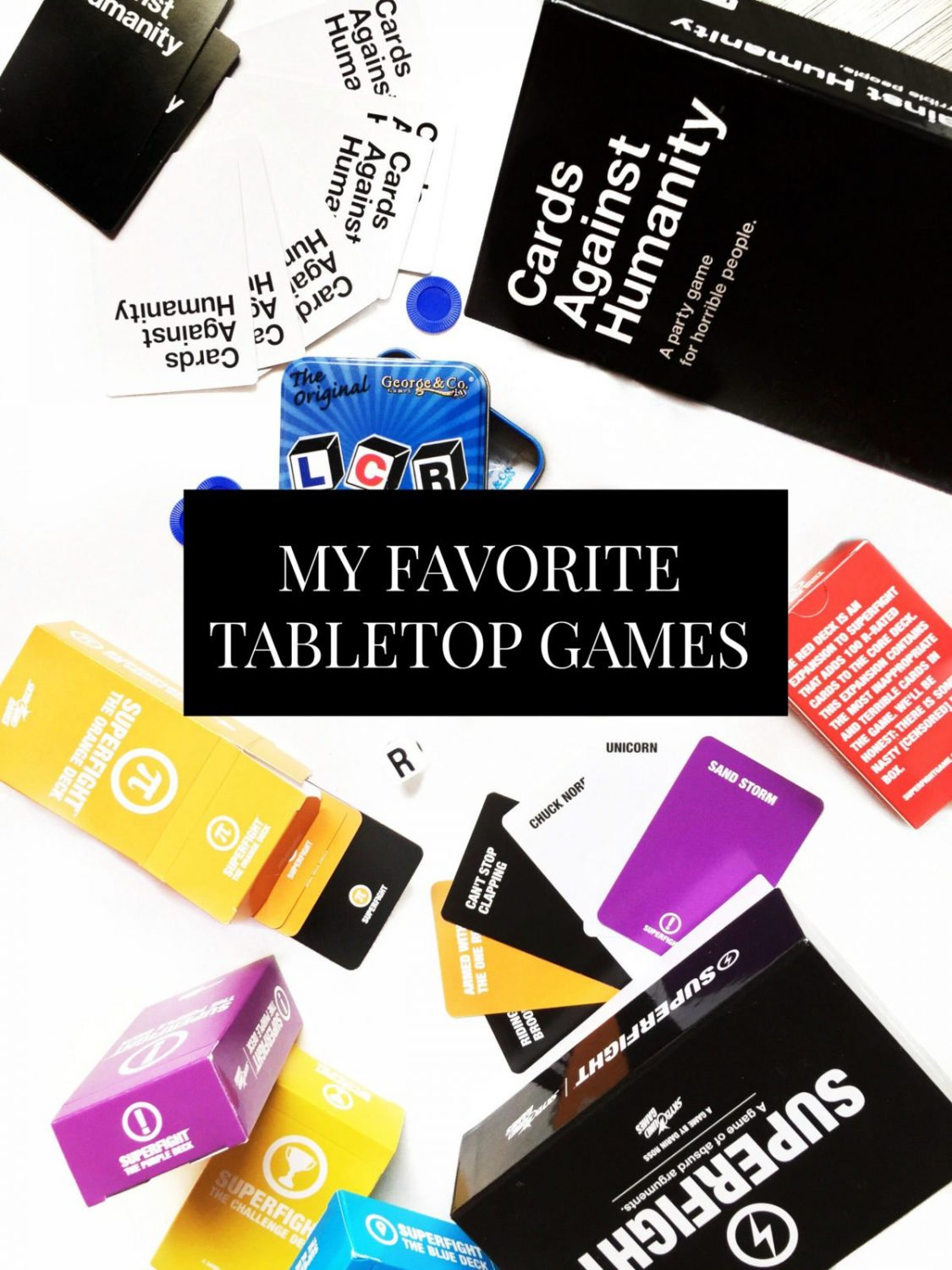 A list of our favorite tabletop games for hosting game night that is geared more to adults who love to play tabletop games. Games include card games, dice games, and board games. Come tell me your favorite game for game night!// www.ElleTalk.com