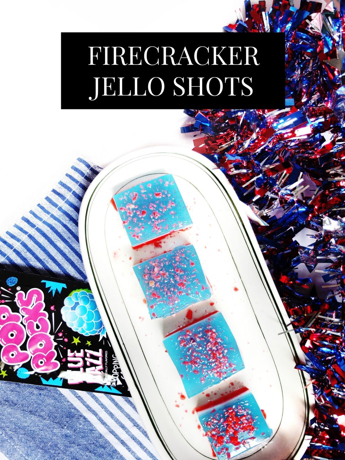 These easy to make red, white, and blue jello shots are the perfect jello shot for Fourth of July or memorial day weekend. The Pop Rock cocktails are topped with pop rocks for a fun firecracker kick to the original jello shot. Perfect for fourth of july parties and can be made in large batches.  // www.ElleTalk.com