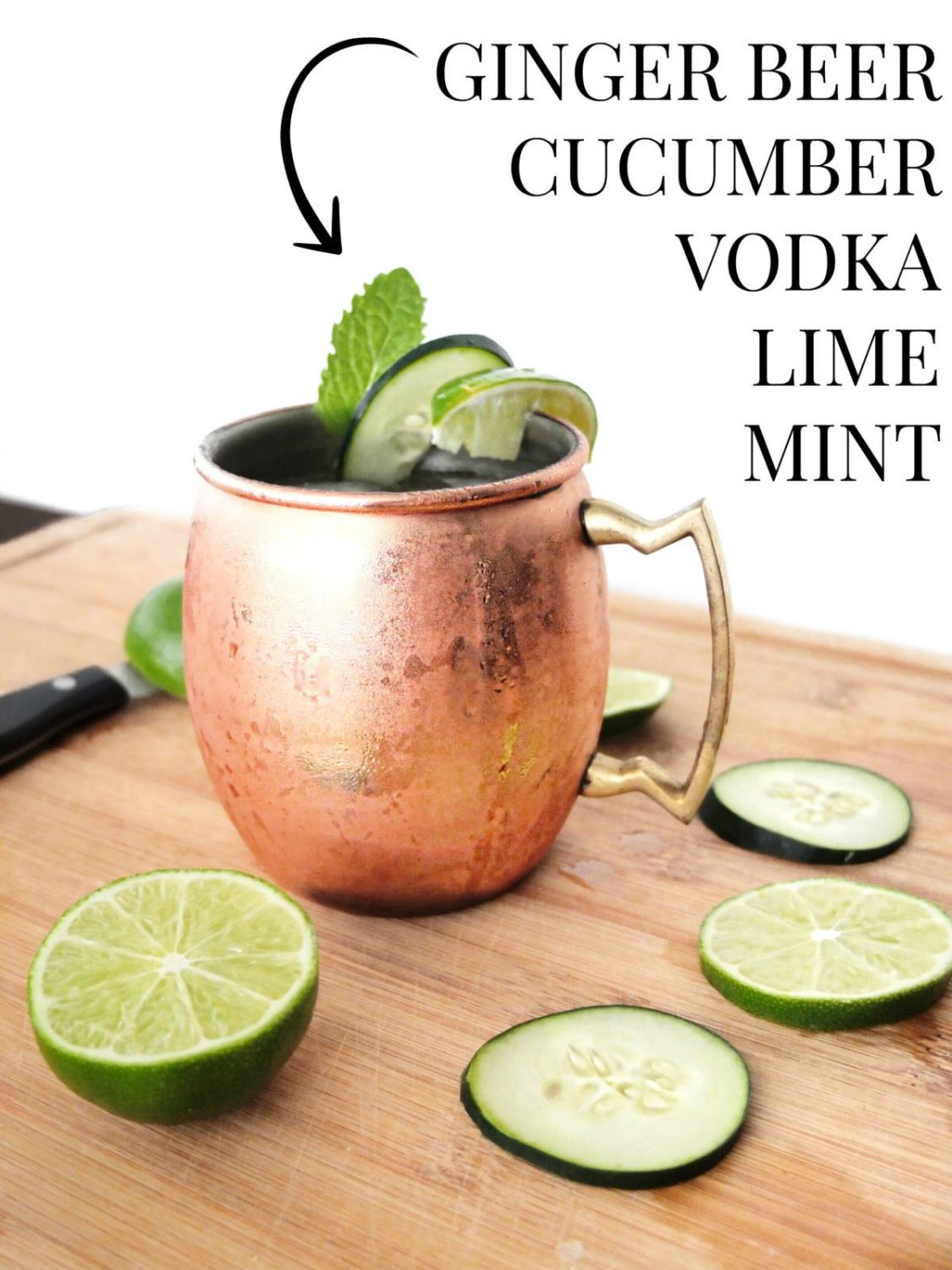 This cucumber Moscow mule is taste similar to spa water but in cocktail form! This easy to make cocktail takes cucumber, mint, lime, vodka, and ginger beer to make a delicious and refreshing cocktail for relaxing. Spa Water Mule perfect for wedding showers too. // www.ElleTalk.com