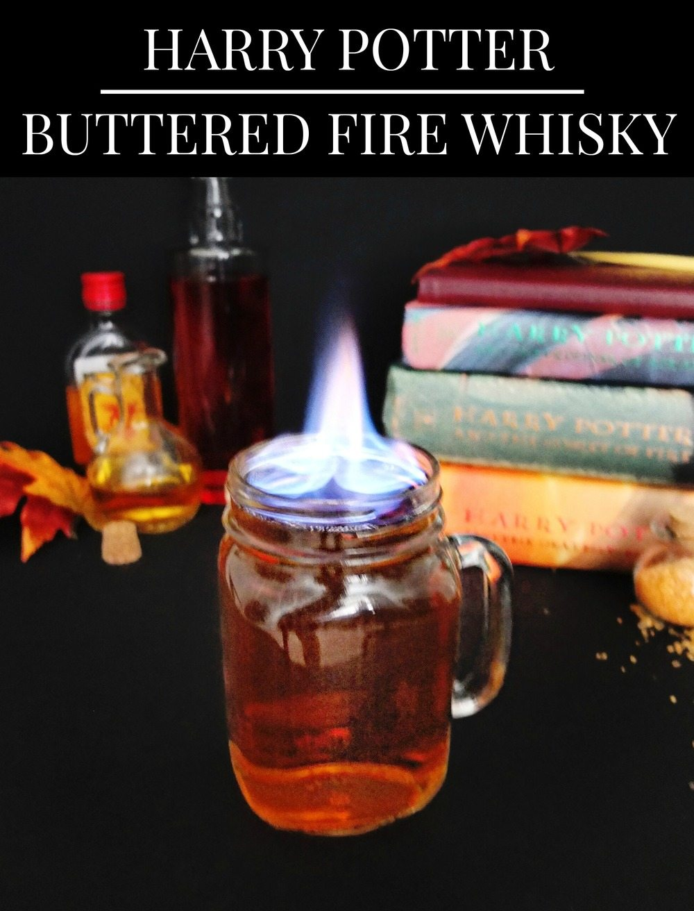 Harry Potter themed cocktail made from butterbeer and firewhisky. Perfect for Harry Potter themed parties. Also a great flaming Halloween cocktail or fall cocktail. Fire cocktails. // www.ElleTalk.com