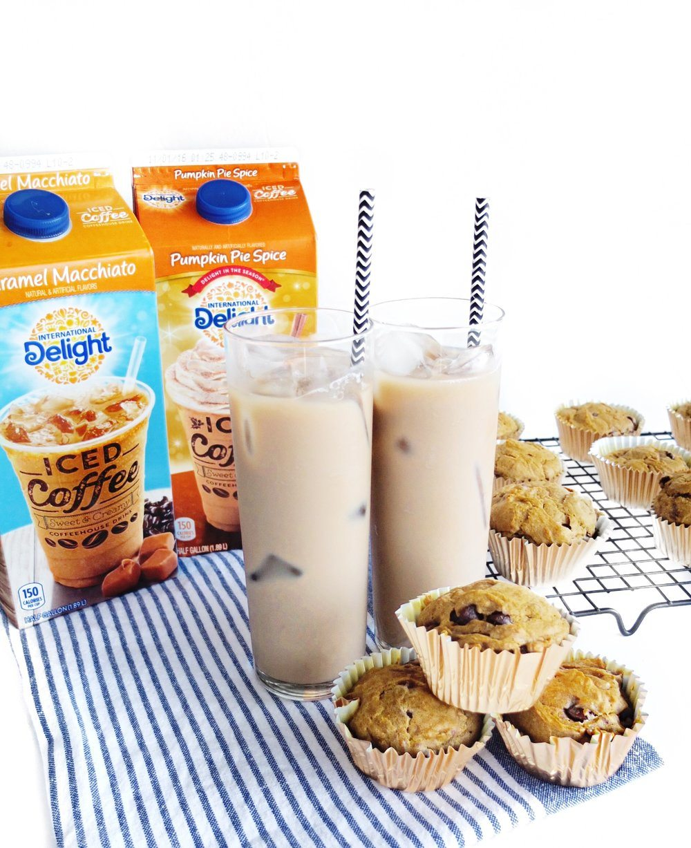 A recipe for easy to make Pumpkin Mocha Chip Muffins made with pumpkin, International Delight Iced Coffee Pumpkin Pie Spice, and chocolate chips. #AD #FoundMyDelight