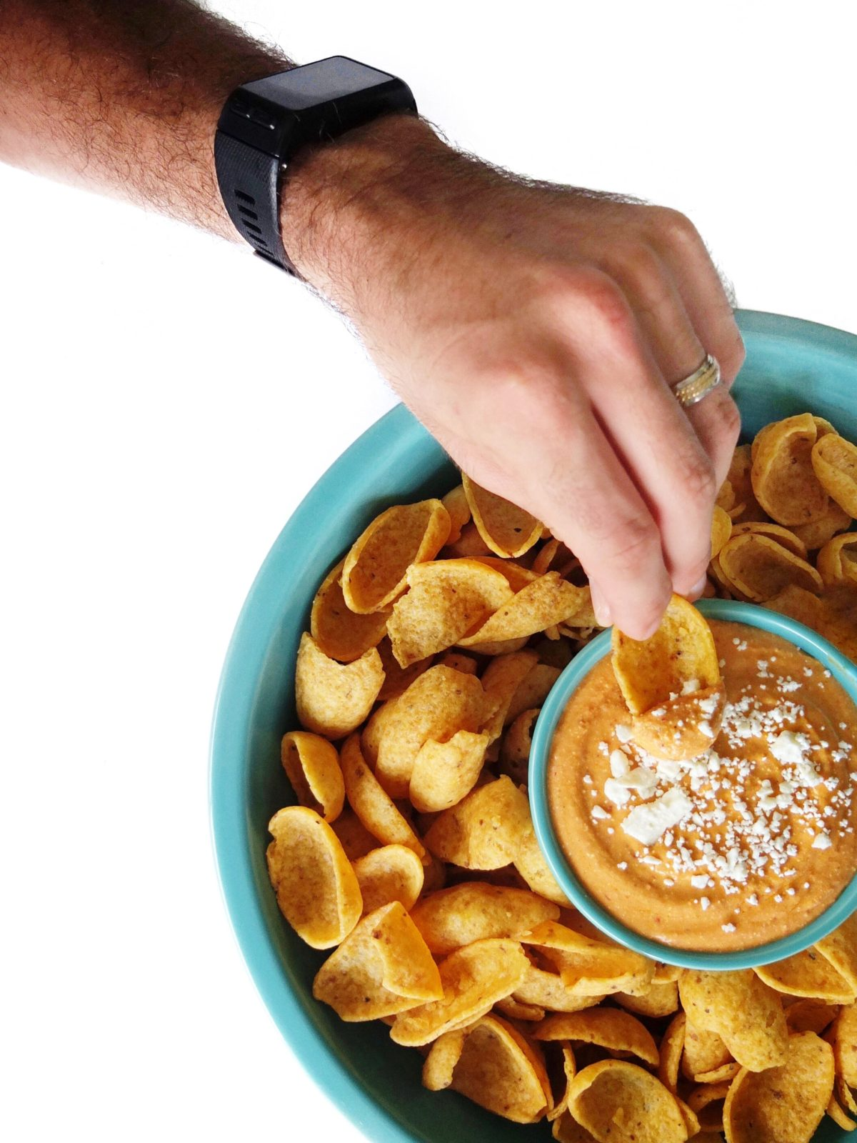 An easy football recipes for spicy bean dip with adobe chilis, great northern beans, taco seasoning, and more. Perfect for those husbands who love bean dip. // www.ElleTalk.com