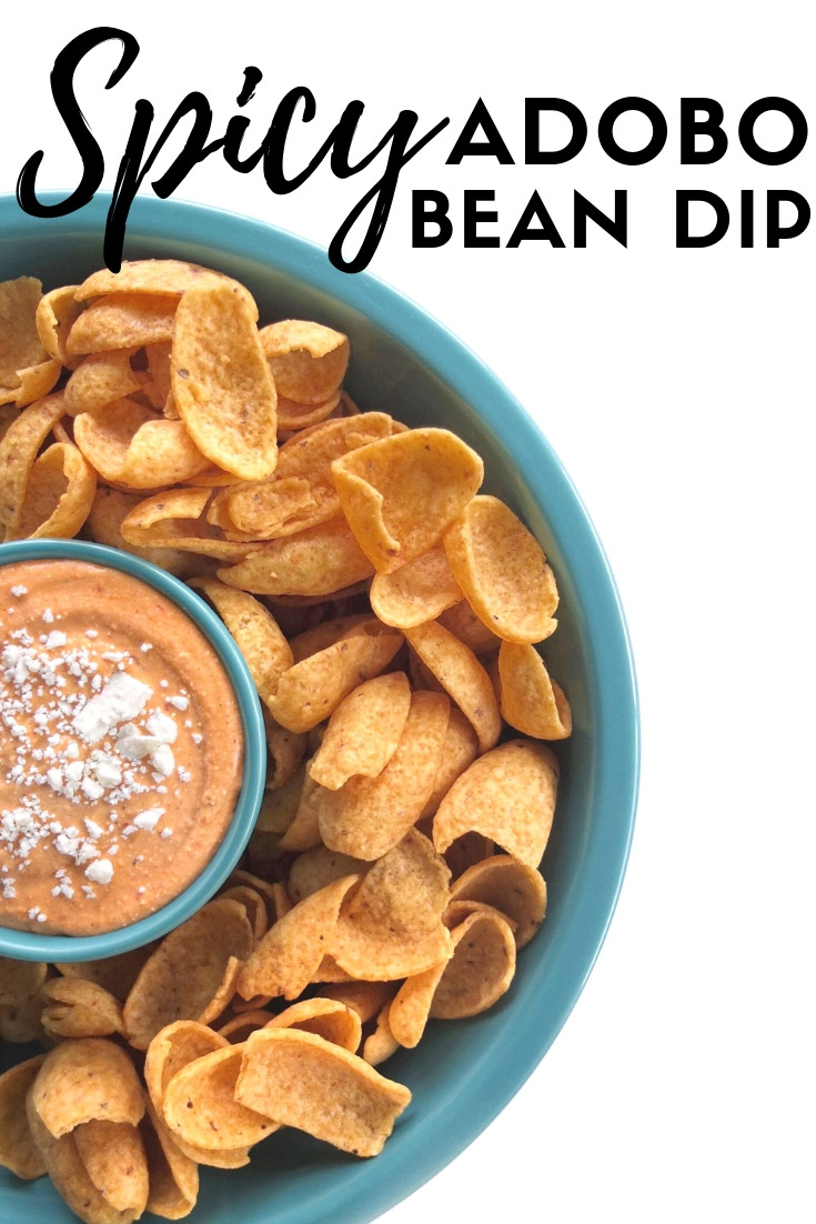 An easy football recipes for spicy bean dip with chilis in adobo sauce, great northern beans, taco seasoning, and more. Perfect for those husbands who love bean dip. // #ElleTalk #GameDay #Dip #ChipsAndDip #BeanDip