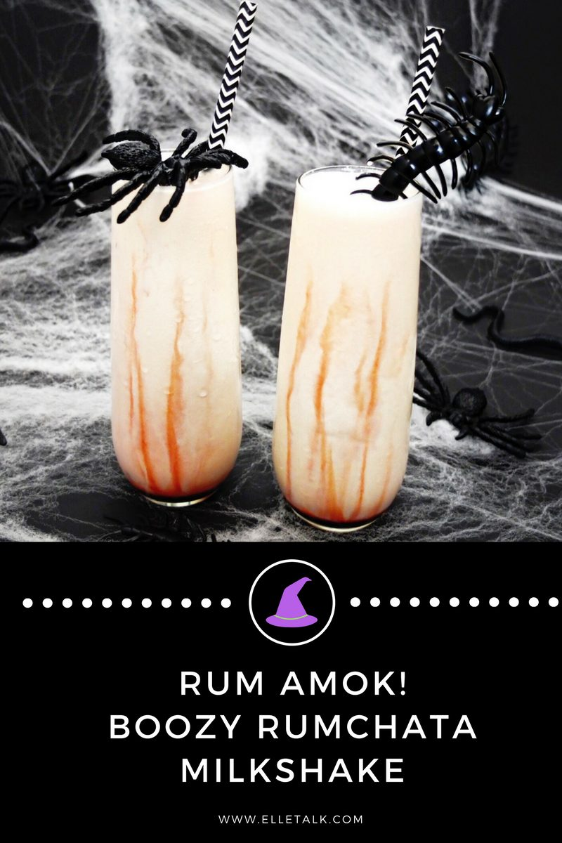 A Halloween Rumchata milkshake cocktail inspired by Hocus Pocus! This Rum Amuck, reminds me of Sarah Sanderson who loves to run amuck, enjoys dining on spiders, and sucking the lives out of the children of Salem. Made with edible chocolate blood syrup, ice cream, and Rumchata. // www.ElleTalk.com