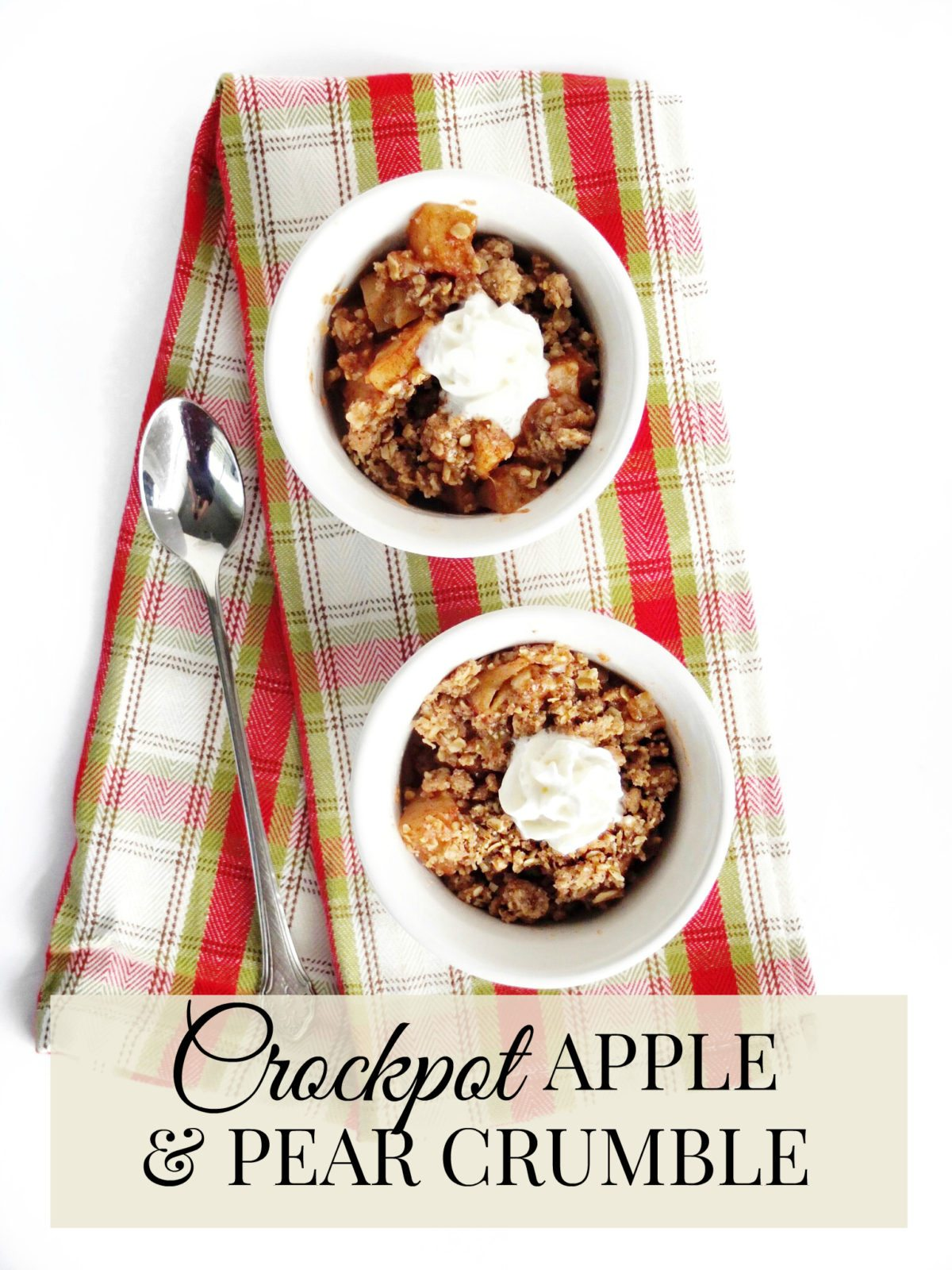 Easy Holiday and Thanksgiving crockpot dessert. Crockpot Apple and Pear crumble is sweet, spicy, and crispy deliciousness that allows you to free up oven space when you are cooking a large meal. Don