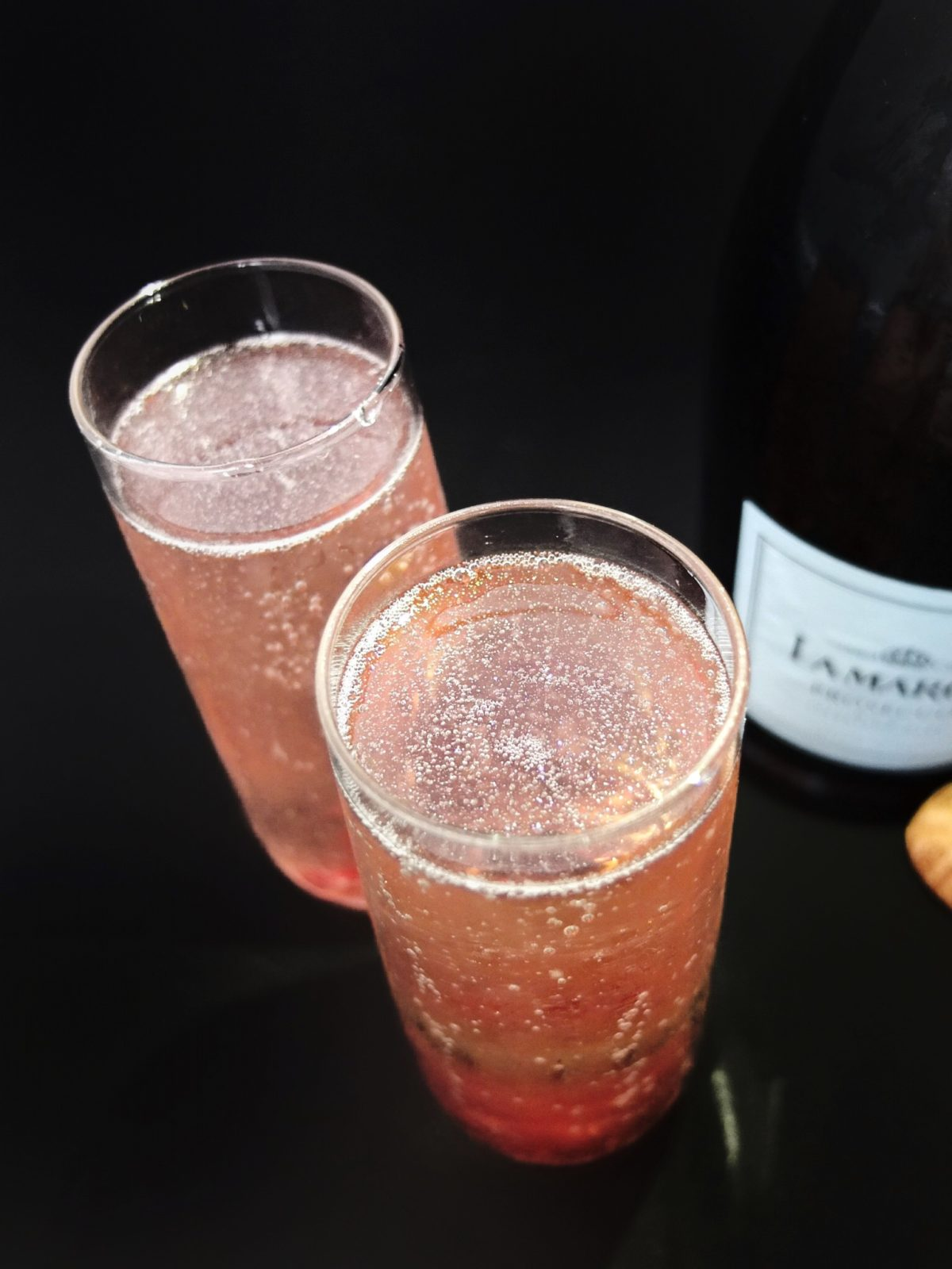 An easy New Years Eve champagne cocktail for ringing in the new year. Uses hibiscus flowers in syrup. Also a Beauty & The Beast Cocktail.