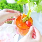 An easter brunch cocktail Bunny Mary, that is a bloody mary made with carrot juice & garnished with a celery bunny. Plus a look at my Easter Brunch tablescape with H-E-B that includes bunny muffins. // www.elletalk.com #ad #HEB #easter #brunchrecipes #easterbrunch