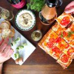 Three small bite aperitif recipes for a summer date night aperitivo including Green Melon Caprese, Lemon & Artichoke Tapenade, and a Heirloom Tomato Tart. #datenight