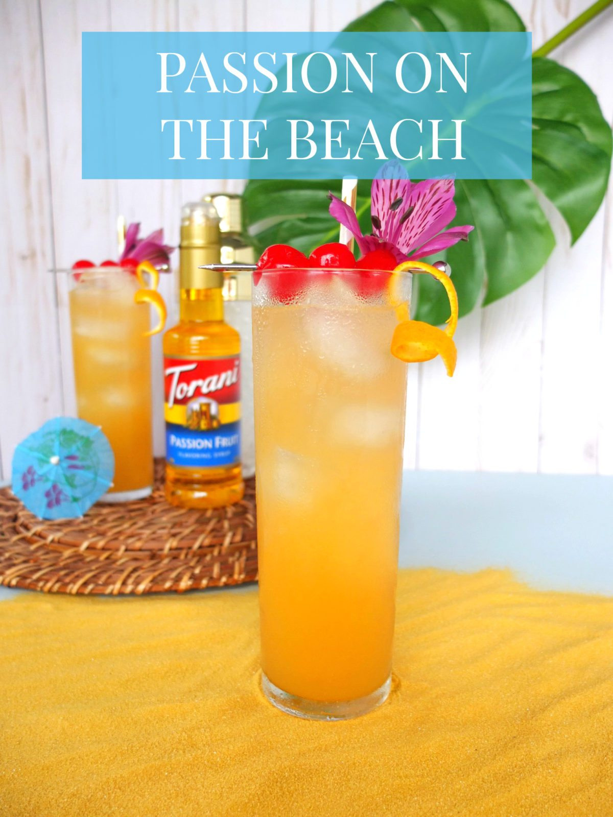 Msg 4 21+ Easy summer Torani Syrup cocktail recipe for a Passion on the Beach. A Passionfruit version of a Sex on The Beach cocktail using Torani Passion Fruit Syrup. #ad #MyToraniSummer @walmart @ToraniFlavor // www.elletalk.com