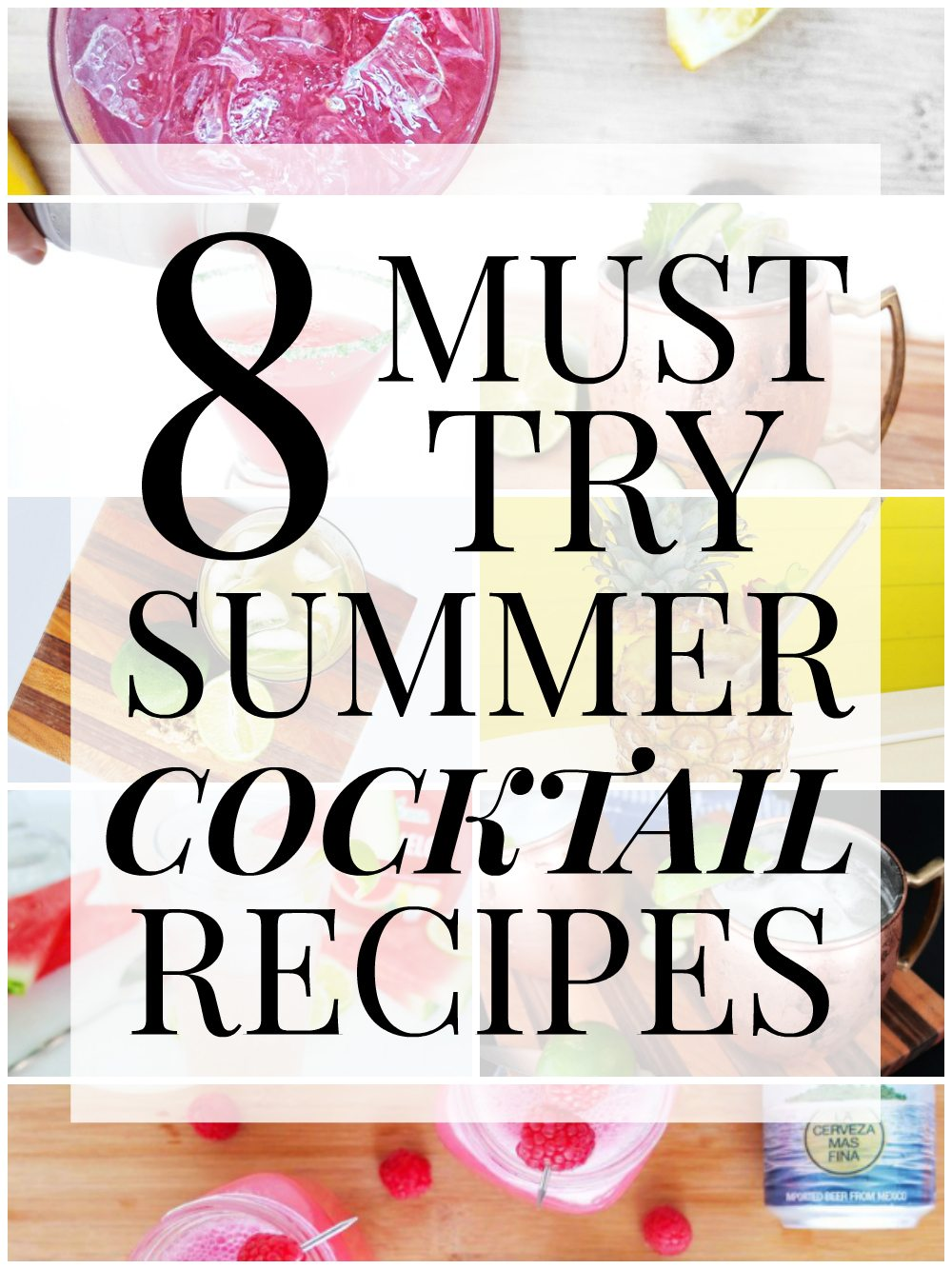 A roundup of summer cocktail recipes that are delicious and easy from Elle Talk. Included Pineapple Rum Swizzle, Coconut Moscow Mules, Juleps, Watermelon Gin Rickey, and more delicious summer flavors. // www.elletalk.com
