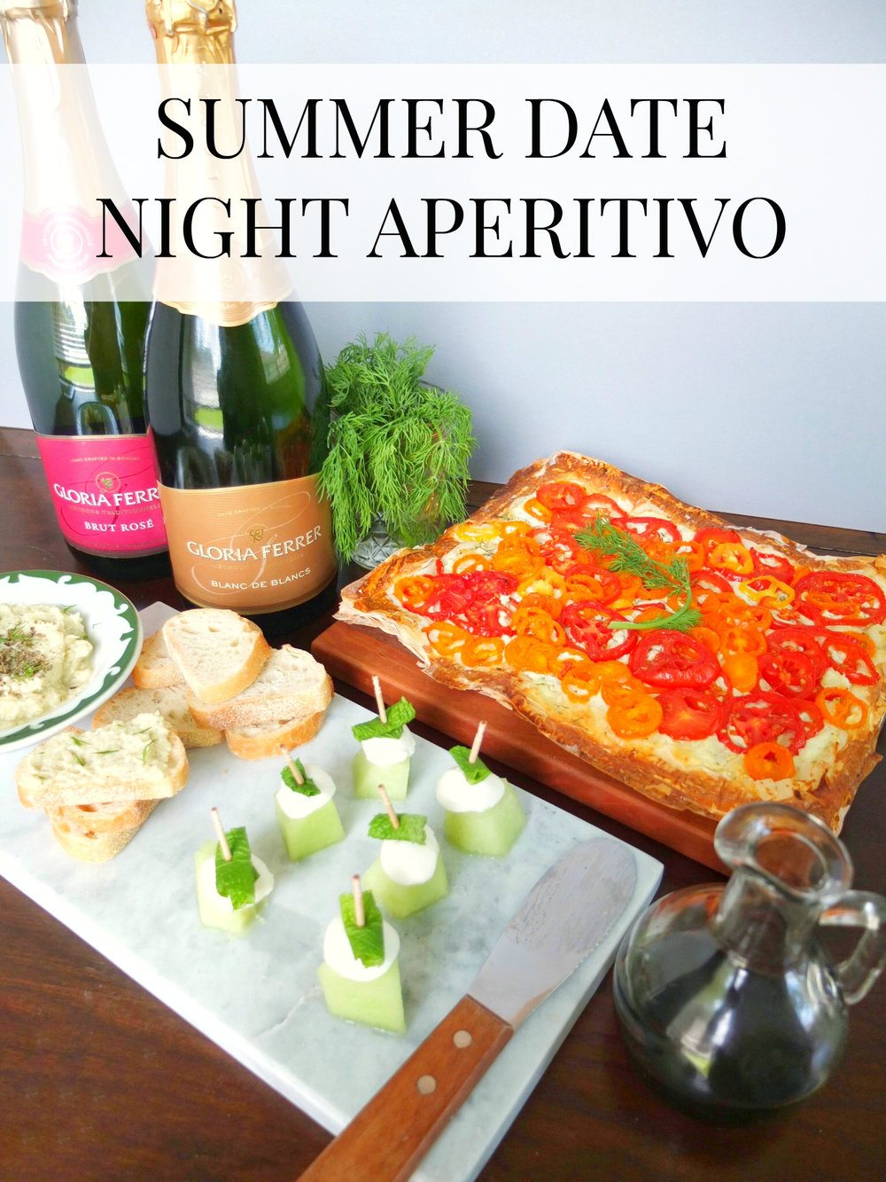 How to throw a summer date night aperitivo with three simple aperitifs and quick small bite recipes including Green Melon Caprese, Lemon & Artichoke Tapenade, and a Heirloom Tomato Tart for a delicious European Happy Hour. This meal is paired to Gloria Ferrer sparkling wines. #ad #GloriaFerrer #CLVR // www.elletalk.com