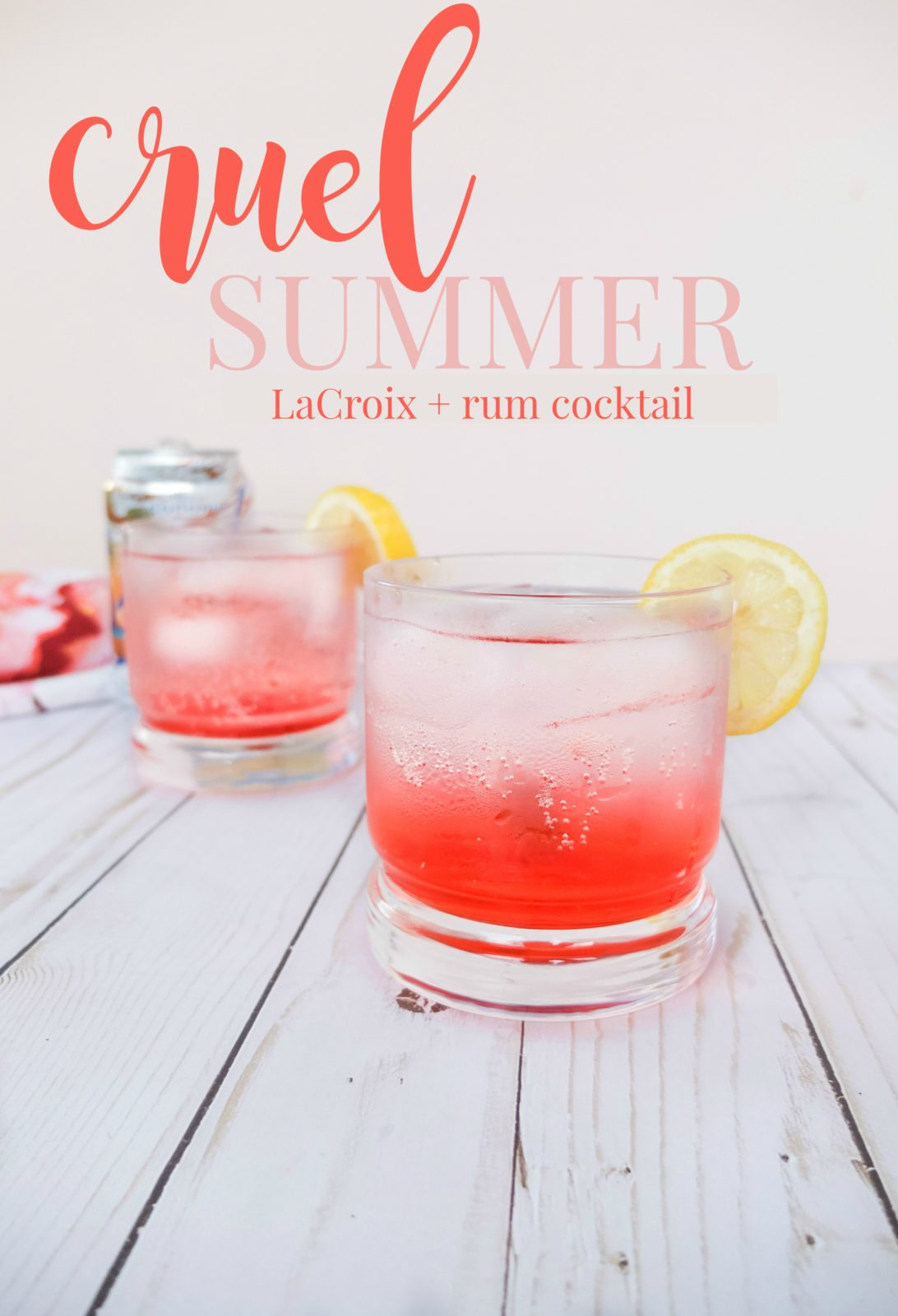 A rum summer drink recipes that makes for a simple summer cocktail using only 4 ingredients. This LaCroix cocktail will be the perfect refreshing summer cocktail to beat the August heat. Using strawberry syrup, coconut sparkling water, lemon juice, and rum to make a light and refreshing summer or anytime drink. // www.elletalk.com