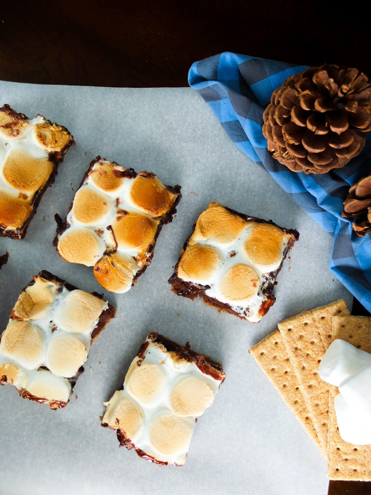 Delicious s'more dessert bars made with brownie batter, chocolate ganache, and toast marshmallows for a perfectly sweet and gooey fall dessert. Perfect recipe for campfire parties or fall parties.
