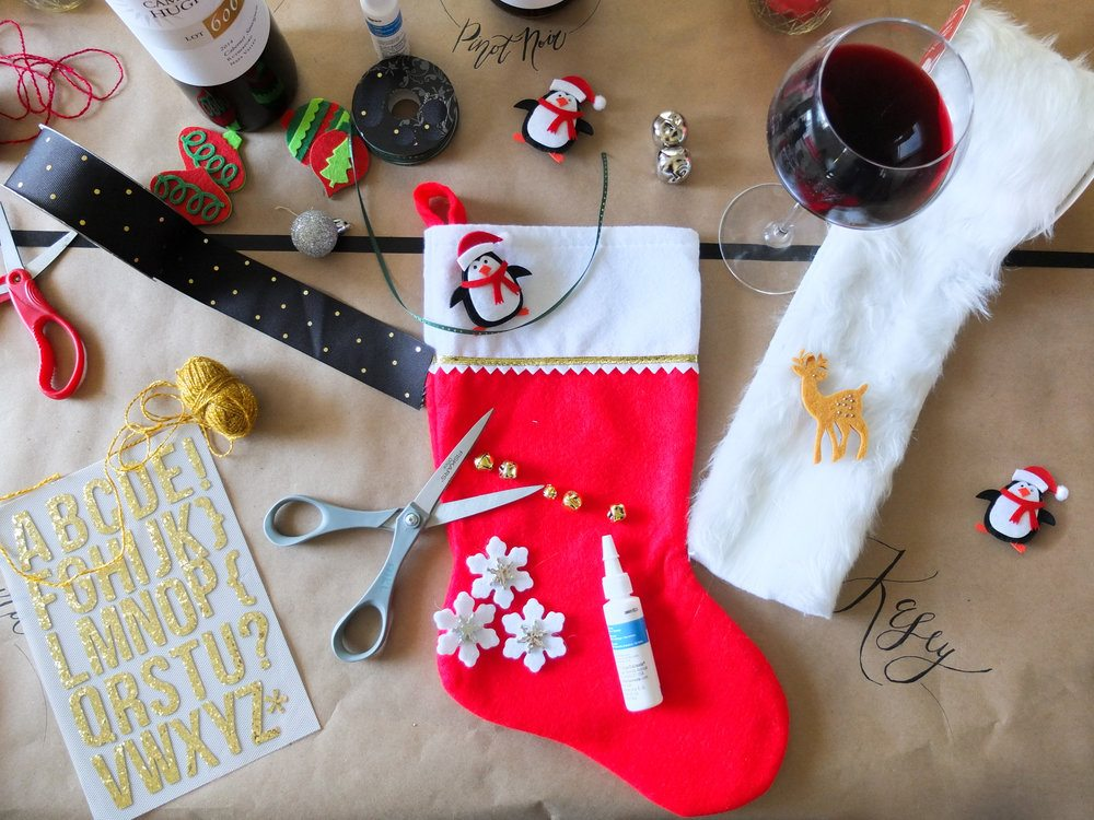 A craft and wine holiday party idea for decorating stockings and enjoying wine. Complete with free printable checklist to create your own D-I-Wine Stocking Party. Also perfect for girls night or girls wine and craft night. Great holiday party idea. Tacky sweater party idea. MSG 21+, please drink responsibly. #ad #CHWineHoliday // www.elletalk.com #holiday #holidayparty #partyideas #crafting #diy #wine #winenight