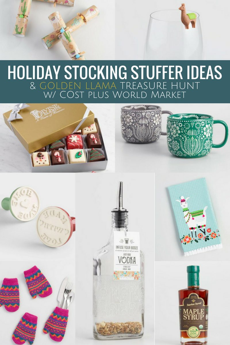 A gift guide for the perfect stocking stuffer gifts this 2017 holiday season and the Golden Llama Treasure Hunt going on with @WorldMarket from 11/1 - 11/22. A food and drink holiday gift guide. Food and drink stocking stuffers. #ad #GiftThemJoy #worldmarkettribe #holidaygiving #holidaygiftguide #giftguide #stockingstuffers
