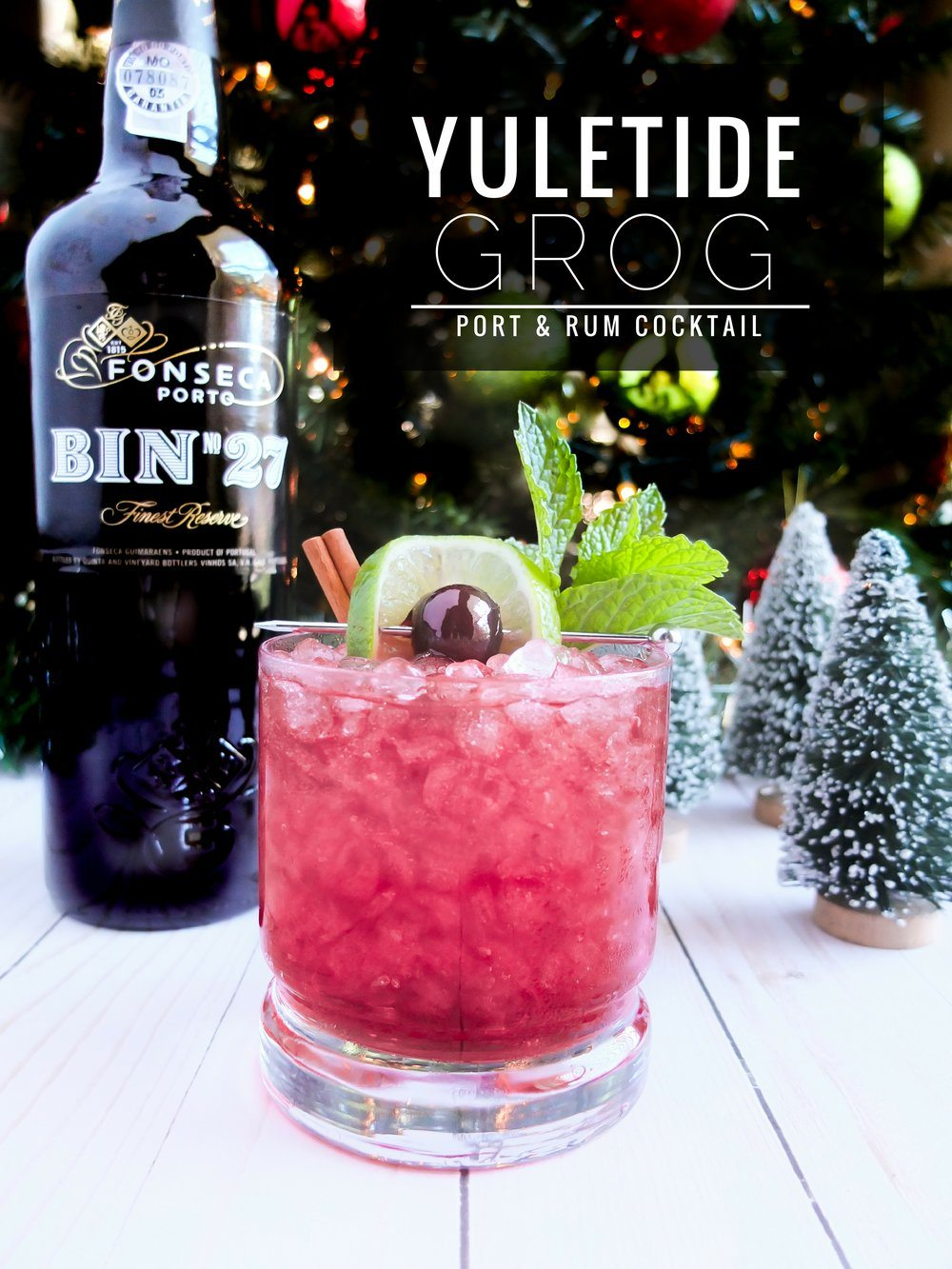 A holiday port cocktail recipe using Fonseca BIN 27 Port,dark rum, and white rum to create a delicious Christmas grog drink.Grog cocktail can be served hot or cold! #sponsored #PortCocktails @PortCocktails @FonsecaPort #Port #CocktailRecipe #Cocktail #HappyHour #DrinkRecipe #HolidayRecipe #RumCocktail #GrogCocktail