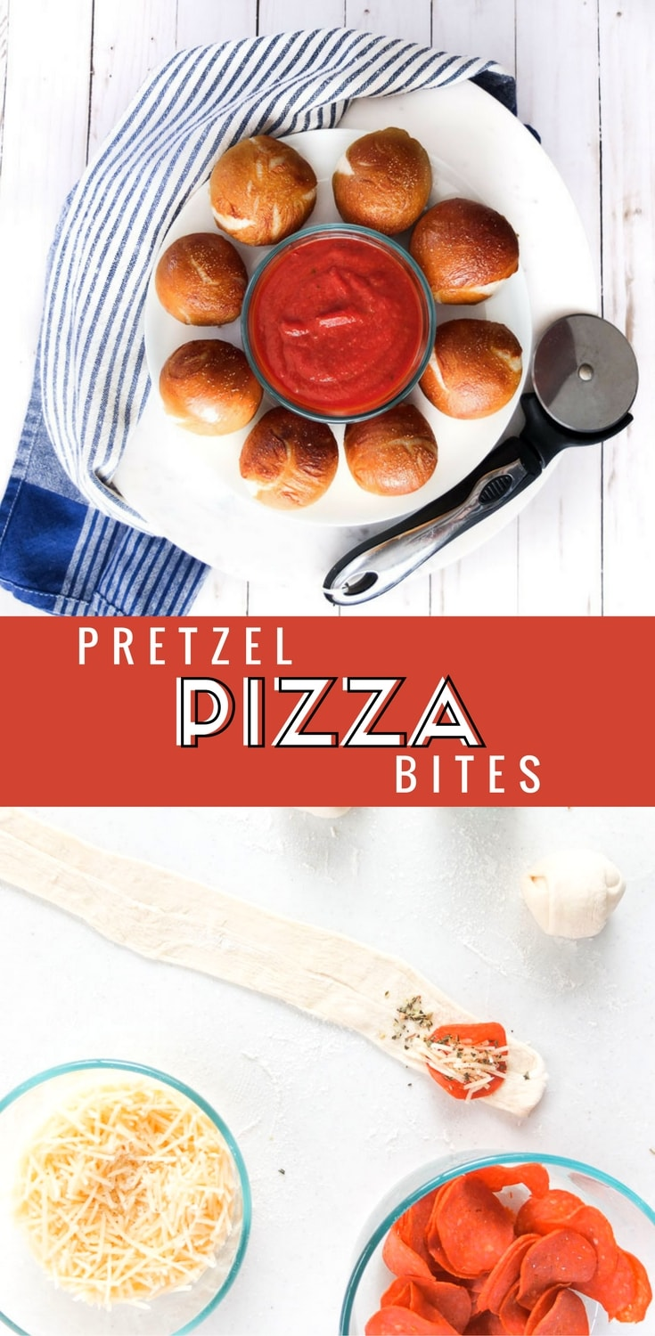 These Pretzel Pizza Bites use fresh pizza dough for a crunchy outside but soft pretzel inside filled with pizza ingredients like pepperoni and cheese. Easy Game Day recipe and easy super bowl food. #superbowlfood #gamedayrecipe #gamedayfood #appetizer #pizza