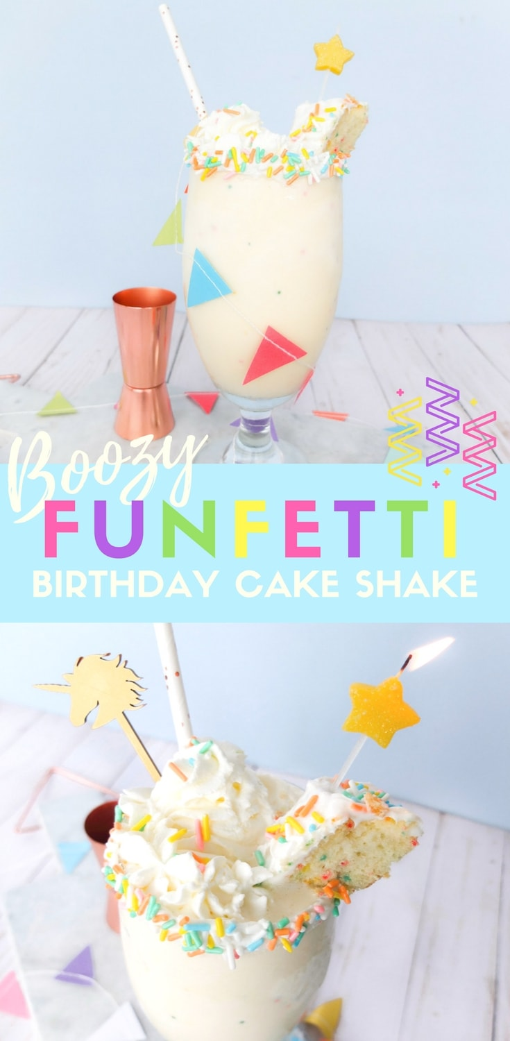 Easy to make adult milkshake this boozy funfetti birthday cake milkshake uses ice cream, cake vodka, and funfetti cake batter to make a delicious alcoholic milkshake. Perfect cocktail for birthdays or parties.