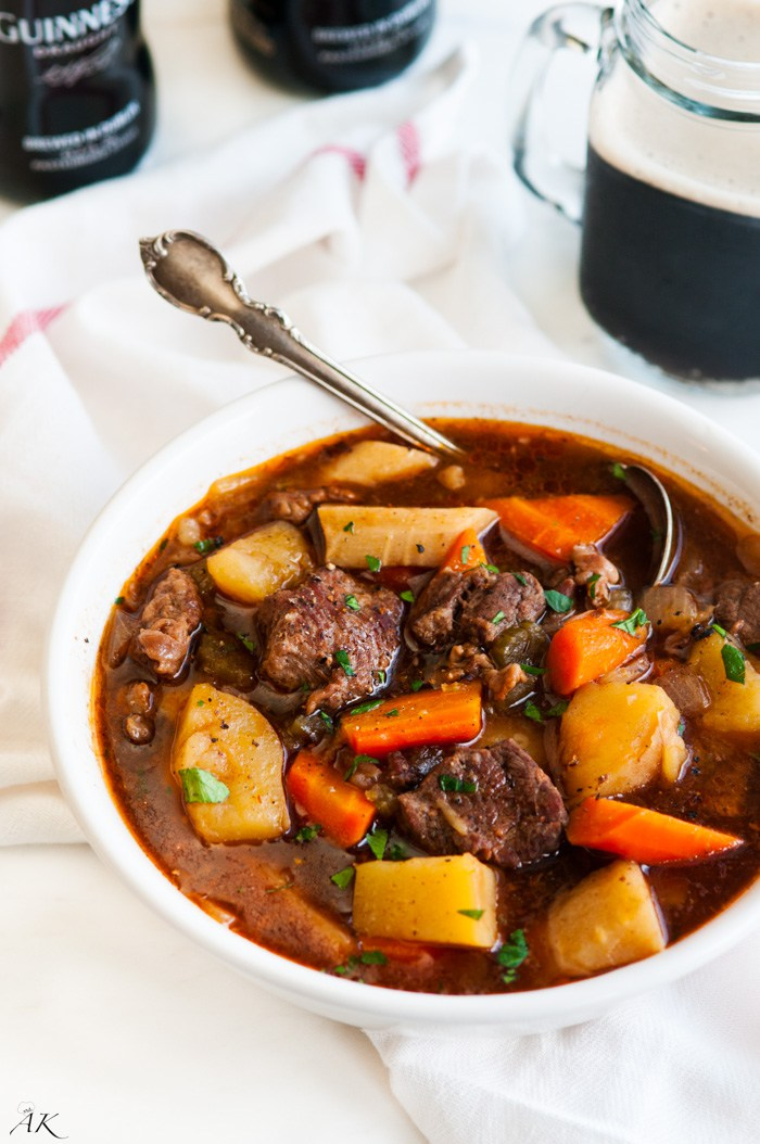 10 of the Best St. Patrick's Recipes - Slow Cooker Guinness Beef Stew by Aberdeen's Kitchen