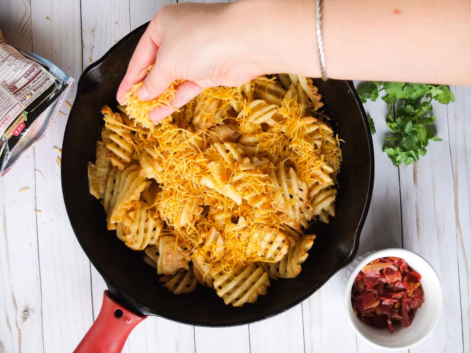 Bacon and Cheddar Loaded Fries served with a easy to make Garlick Aioli. The perfect pub food for a St. Patrick's Day appetizer.