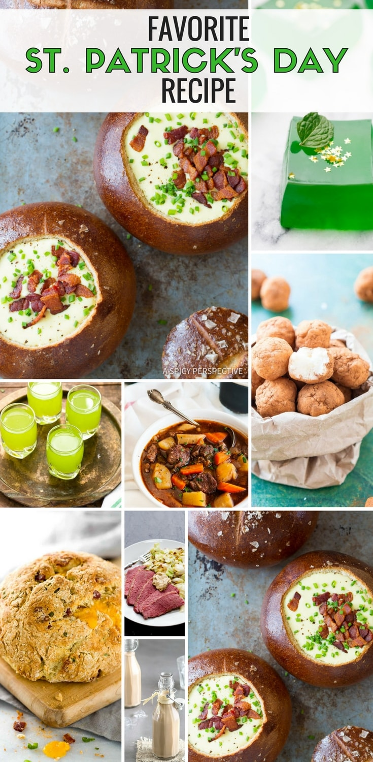 I share this St. Patrick's Day recipe round-up of my favorite St. Patrick's Day themed foods. It's got St. Patrick's Day Drinks, St. Patrick Day recipes, St. Patrick day foods, Irish Stews, Soda Breads, and more. #StPatricksDay #StPatricksDayFood #StPatricksDayRecipe #StPatricksDayParty #Roundup
