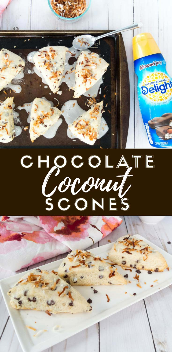 Make ahead breakfast recipe that's perfect for spring brunch. These Chocolate Coconut Scones are a crumbly and delicious breakfast treat. Made with International Delight® Almond JoyTM, then covered in a toasted coconut glaze. #ad #DelightfulMoments #SplashOfDelight