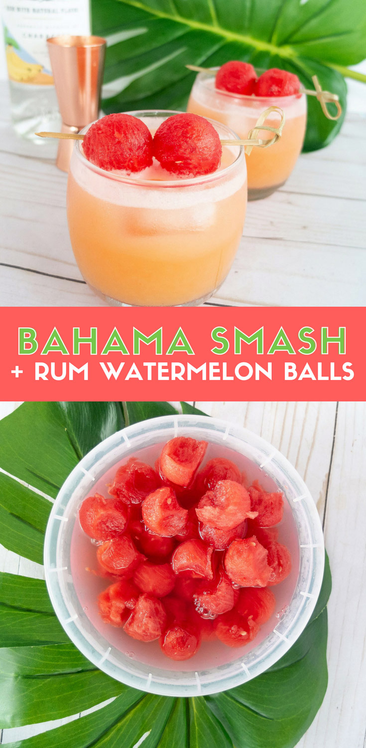 Make these rum infused watermelon balls! Easy to make beach drink that uses banana rum, watermelon juice, orange juice, cream of coconut, and lime juice. Plus it's topped with rum infused melon balls! This tasty tropical cocktail is a perfect summer cocktail. #summer #cocktail #cocktailrecipe #rum #tikidrink #tropicaldrink #watermelon Elle Talk