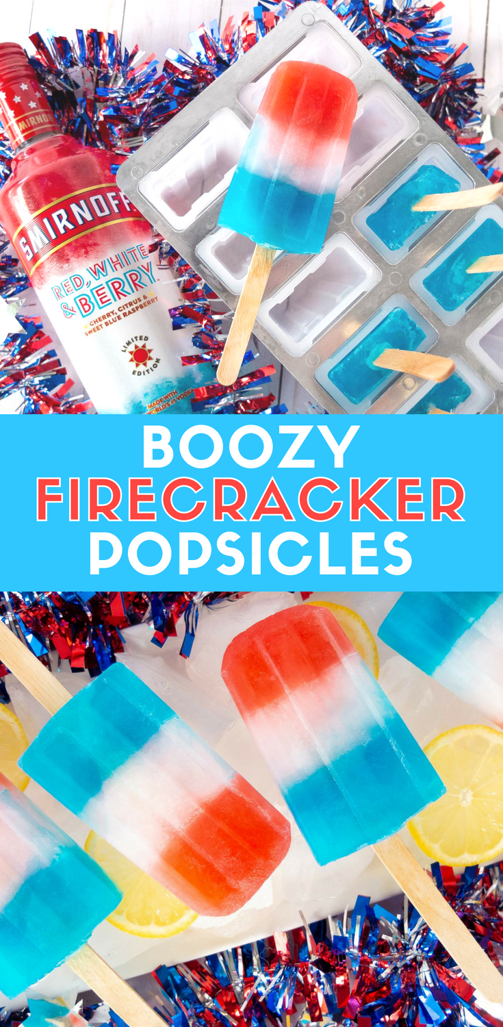 Recreate Firecracker Popsicles with a boozy twist. These Boozy Firecracker Popsicles will be the highlight of your Memorial Day or Fourth of July party. Made with Smirnoff Red, White, and Berry Vodka and lemonade, it's a fun boozy popsicle to impress guest. Perfect for red, white, and blue parties these red, white, and blue popsicles are perfect adult summer treat. #popsicles #summer #fourthofjuly #memorialday #cocktails #boozy #treats Elle Talk