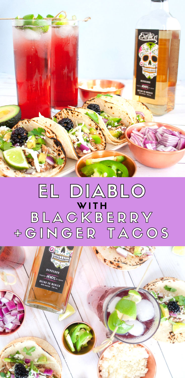 This classic tequila cocktail El Diablo paired with slow cooker Blackberry & Ginger Tacos. The El Diablo cocktail is a black current and ginger beer drink that's easy to sip. Have it along side these chicken tacos made in a blackberry and ginger sauce makes for a little spicy, sweet, and salty. Recipe for those 21+. #slowcooker #recipeoftheday #tequila #cocktail #cocktailrecipe #foodpairing #dinner #dinnerrecipe #tacotuesday #tacoparty #makeitexotico #ad