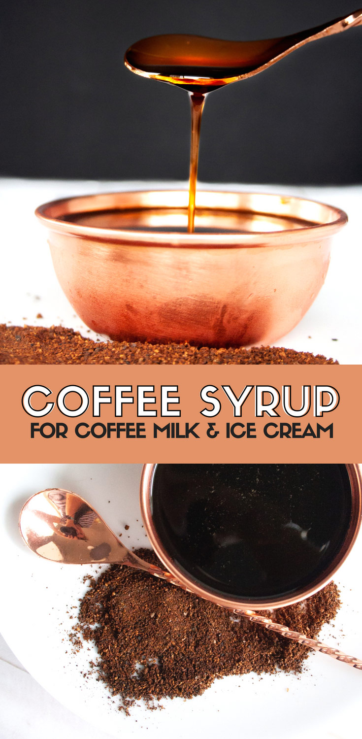 Coffee syrup recipe for topping ice cream, making milkshakes, or the classic Rhode Island drink, Coffee Milk. Great topping for ice cream, to make coffee milk shakes, or to change up any sweet treat. Easy dessert recipe! Elletalk.com #recipe #recipeoftheday #dessert #coffee #coffeemilk #sweet #icecream #milkshakes #dessertrecipe #recipeoftheday #easyrecipes