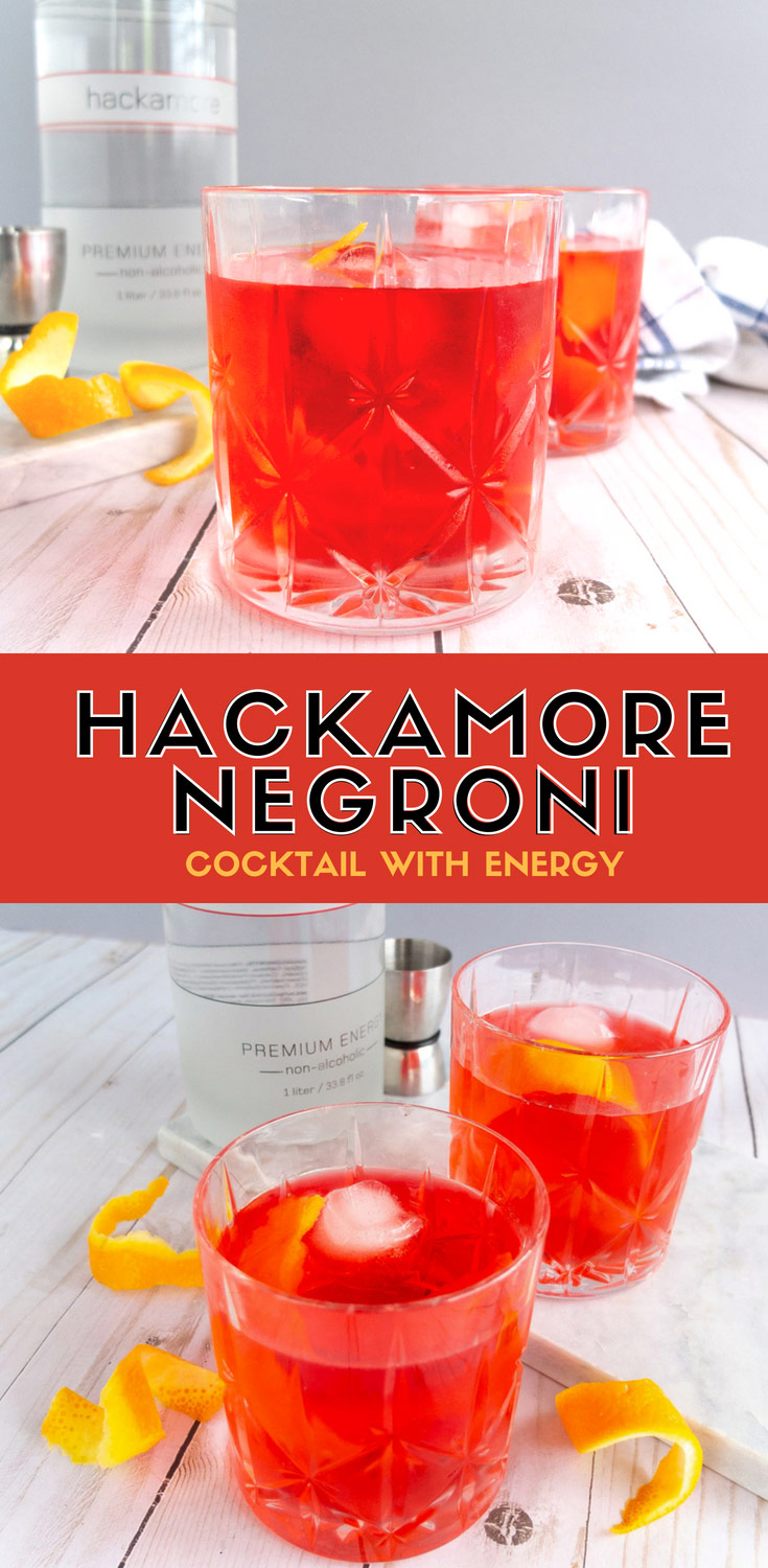 Get an afternoon pick me up with this Hackamore Negroni! This apéritif cocktail used Hackamore energy beverage in this classic cocktail to give you a boost of natural caffeine when you need it. Recipe is for the ages 21+.