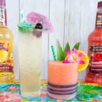 Master your next luau party with these fun rum tiki cocktails, Pink Hawaiian and the Pool Boy. The Pink Hawaiian is a pink cocktail with Master of Mixes Strawberry Colada Mix and white rum. The Pool Boy is a dark rum and absinthe cocktail mixed with Master of Mixes White Sangria! Elle Talk| #ad #MasterofMixes #cocktail #cocktailrecipe #summer #luau #luauparty #tiki #tikicocktail #rum