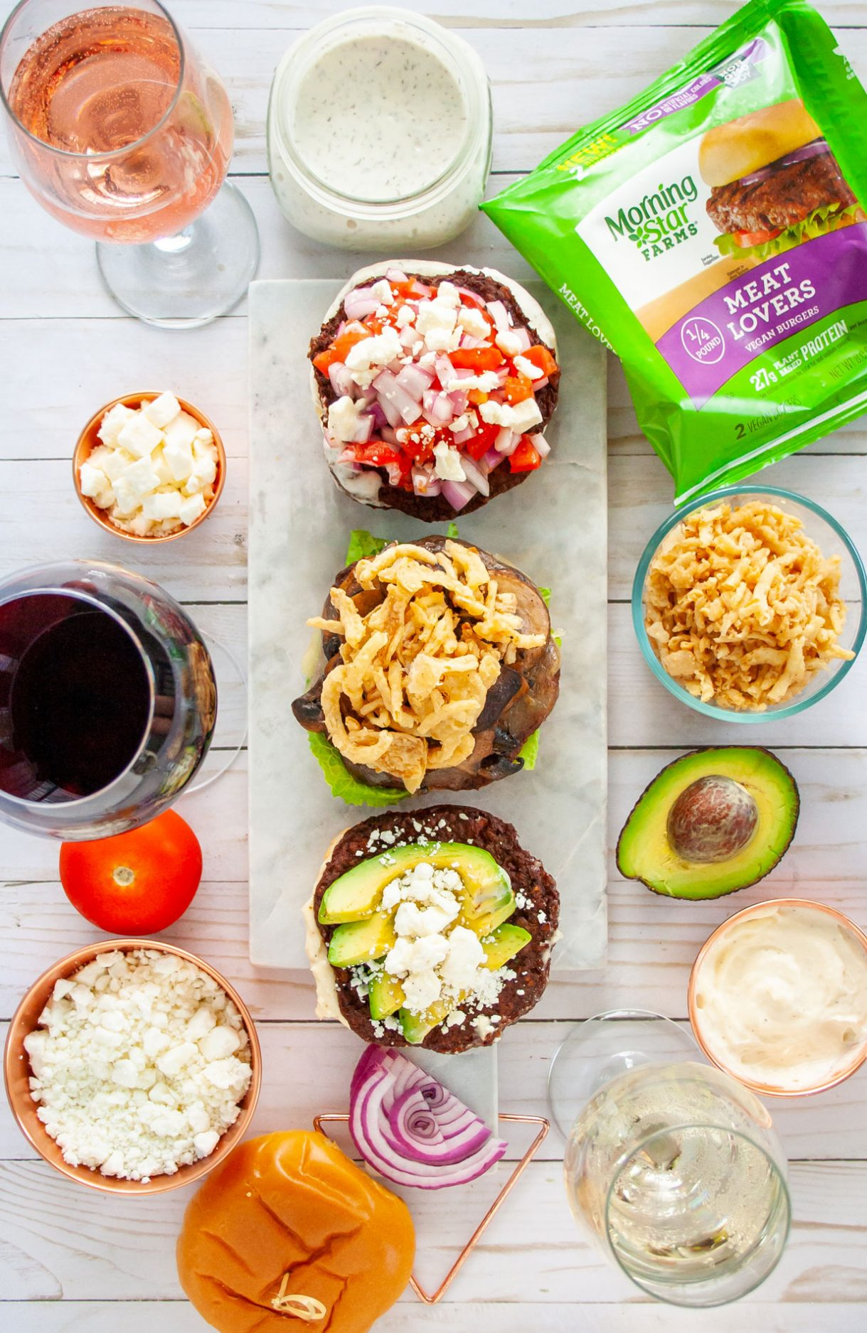 Msg 21+ Wether you're looking for Meatless Monday recipes or for a fun way to entertain these grilled meatless Burger and Wine Pairings are sure to be a satisfying hit. With recipes for pairing wine to a Mushroom Swiss Burger, Avocado Burger, and a Greek Burger. @morningstarfrms @walmart #ad #MorningStarFarms #MakeRoomOnYourGrill #GrillingRecipe #Burgers #Summerrecipes #Winepairing #winenight #meatlessmonday #meatlessrecipes