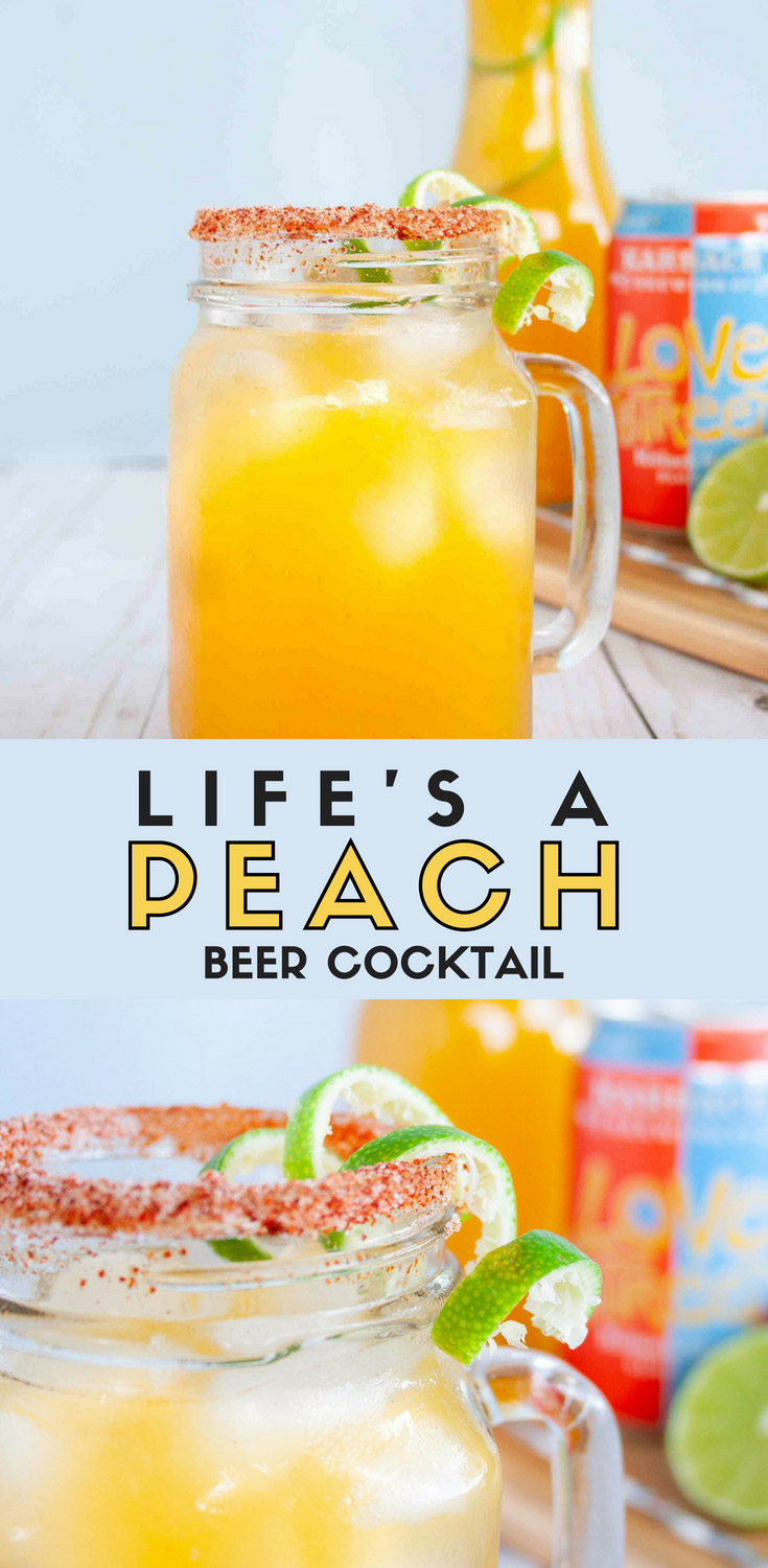 This Life's a Peach Beer Cocktail is a brunch cocktail or fun game day drink that uses peach nectar, vodka, beer, and spicy notes for a cocktail that is sweet with a touch of spice. You can make it a Kolsch Beer Cocktail or IPA Beer Cocktail depending on your preference. So grab this fall beer cocktail recipe | Elle Talk | #gameday #football #beer #beercocktail #cocktail #recipe #recipeoftheday #drinkrecipe #cocktailrecipe