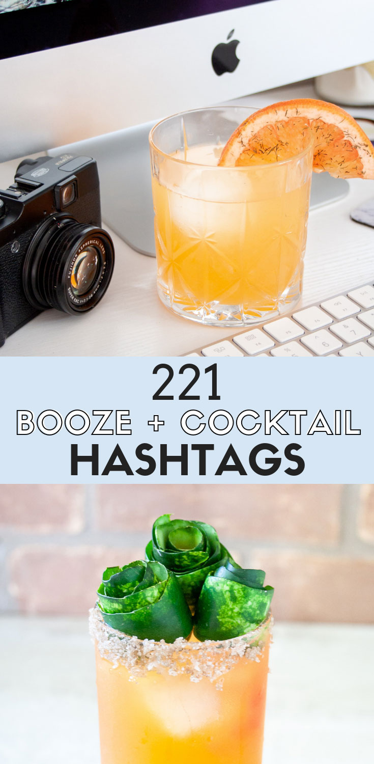 A collection of drink hashtags, booze hashtags, wine hashtags, beer hashtags, happy hour hashtags and liquor hashtags for bartenders, bars, bloggers, and influencers to help grow your boozy social media. | #ElleTalk #socialmedia #instagram #blogging #IGtips #hashtags #cocktails #beer #wine #liquor