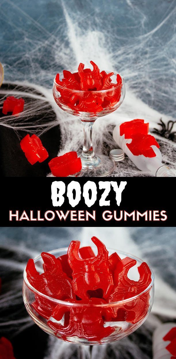 Boozy Gummy Spiders. Recipe for vodka gummy candy that looks like spiders. A fun adult Halloween treat that is easy to make and requires only 3 ingredients. These are similar to vodka gummy bears but require no soaking. #ElleTalk #Cocktails #halloween #vodka #candy