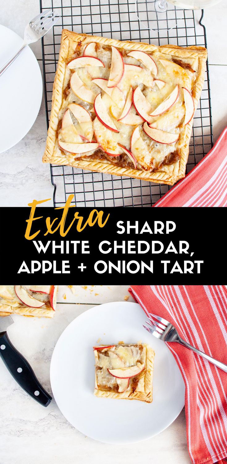 This post has been sponsored by Tillamook. Savory apple tart topped with caramelized onions and Tillamook's Extra Sharp White Cheddar Slices from Costco. This is the perfect Thanksgiving appetizer or appetizer for a fall dinner party! #ElleTalk #ad #TillamookCheese #Thanksgiving #appetizer