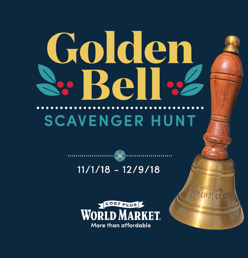 Golden Bell Scavenger Hunt with Cost Plus World Market and 10 Gold Holiday Decorations You Must-Have. @worldmarket #ad #worldmarket #goldenbell #Holidays #Christmas #Decor