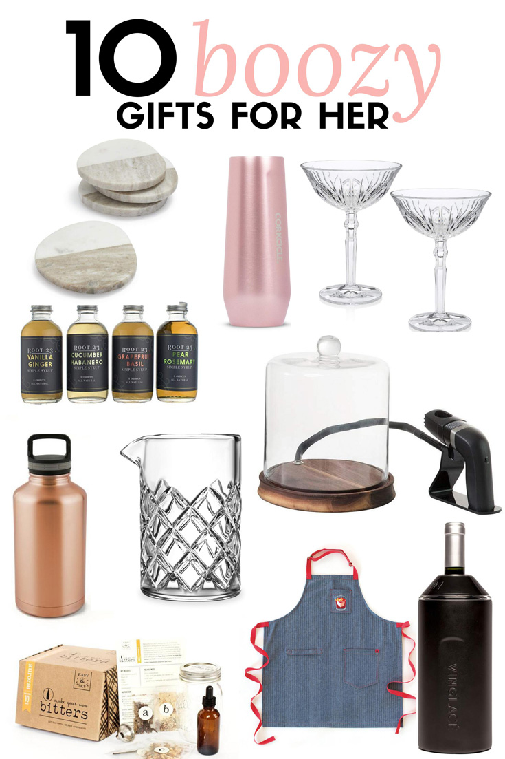10 boozy gifts for him this holiday season that the whiskey drinker, beer snob, or wine sommelier will love. This gift guide for her is perfect for bartenders or casual home imbibers. #giftguide #holidays #cocktails #wine #beer #ElleTalk