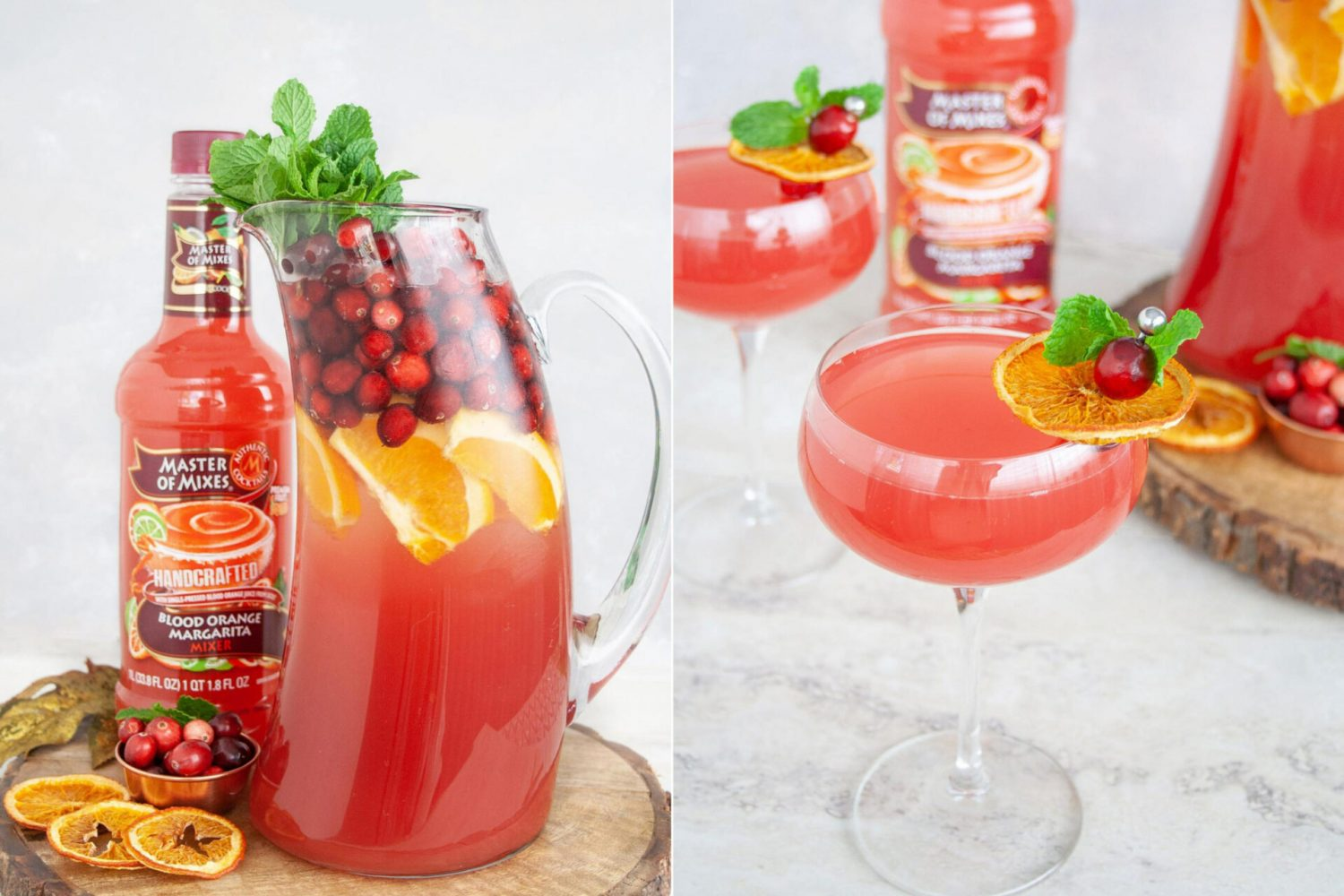 Blood Orange and Cranberry Punch is a gin cocktail made with Master of Mixes Blood Orange Margarita Mix that is a perfect Thanksgiving cocktail. This bubbly punch has notes of cranberry, mint, and citrus for a refreshing and light sip. #sponsored #MasterofMixes #Cocktail #Thanksgiving ThanksgivingPunch #punch