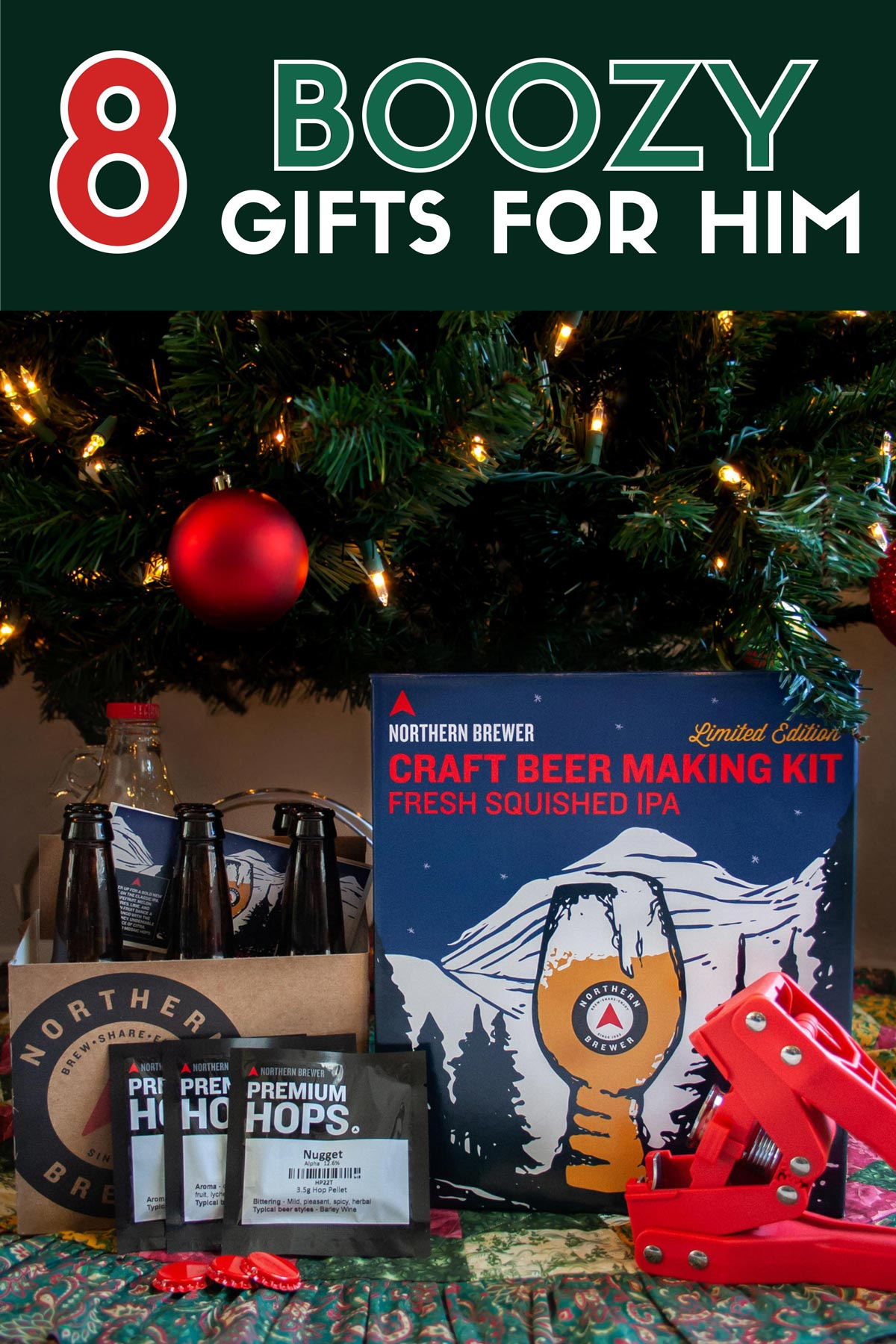 8 Boozy Holiday Gifts For Him. These holiday gifts for him are perfect gifts for beer lovers or gifts for cocktail lovers. Including the Northern Brewer Craft Beer Making Kit Limited Edition. #sponsored #GiftGuide #Christmas #Holidays #GiftsForHim #Cocktails #Beer #ElleTalk