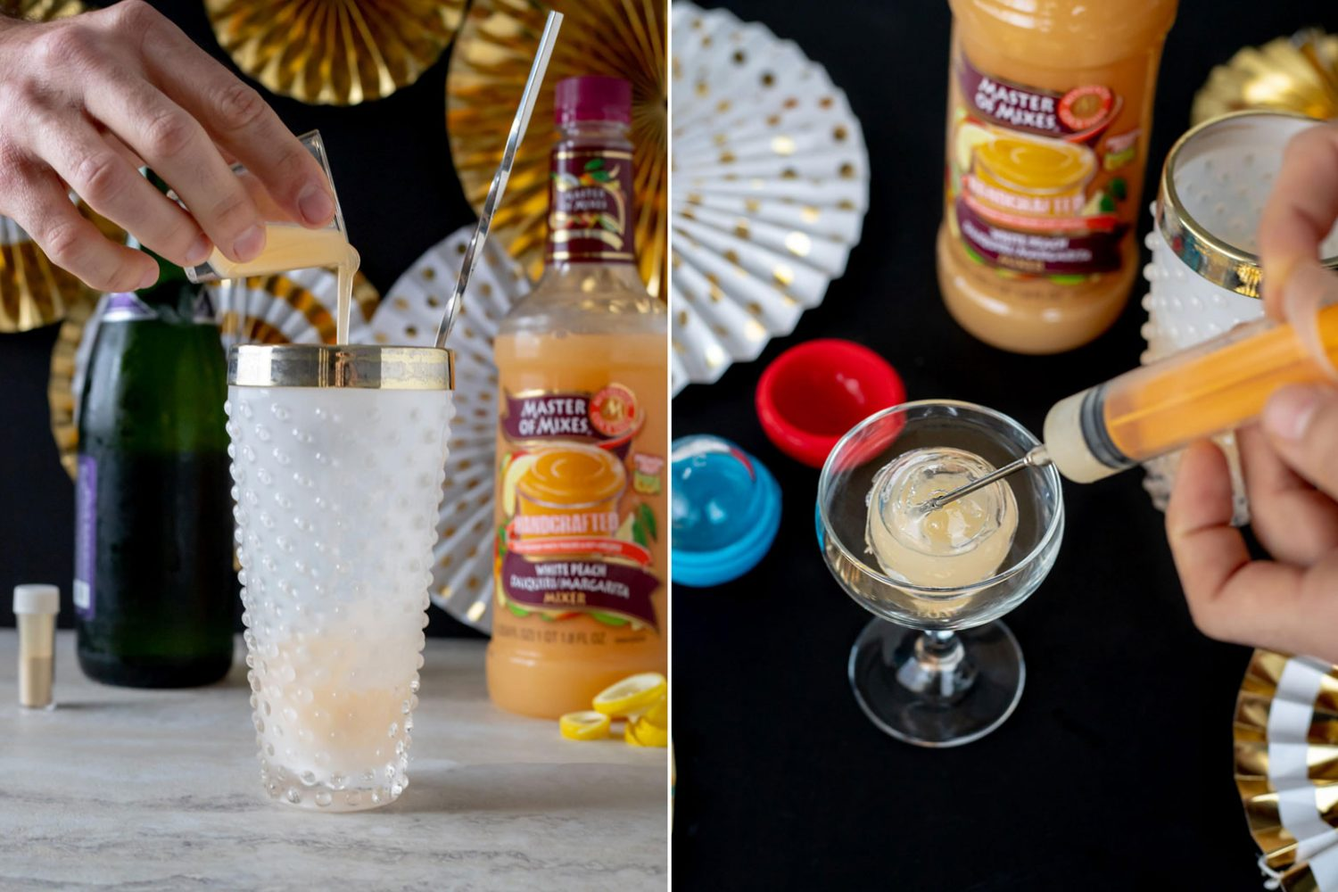 The Ball Drop is a New Years Eve ice ball cocktail made with strawberry vodka, Master of Mixes White Peach Margarita/Daiquiri Mix, lemon juice, and edible glitter. Ice ball cocktail with Master of Mixes. #Sponsored #MasterofMixes #CocktailRecipe #Cocktail #NewYearsEve #ElleTalk