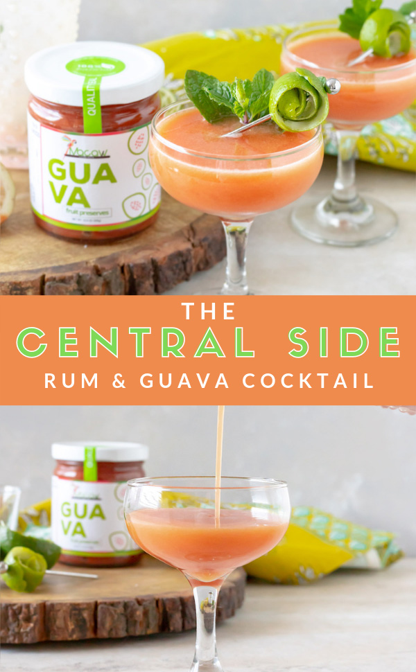 Central Side is an aged rum cocktail with guava, lime, mint, and cardamom notes. This fruit preserve cocktail uses cardamom simple syrup to spice it up for a fruity, boozy, and spicy cocktail. #CocktailRecipe #Rum #RumCocktail #RumDrink