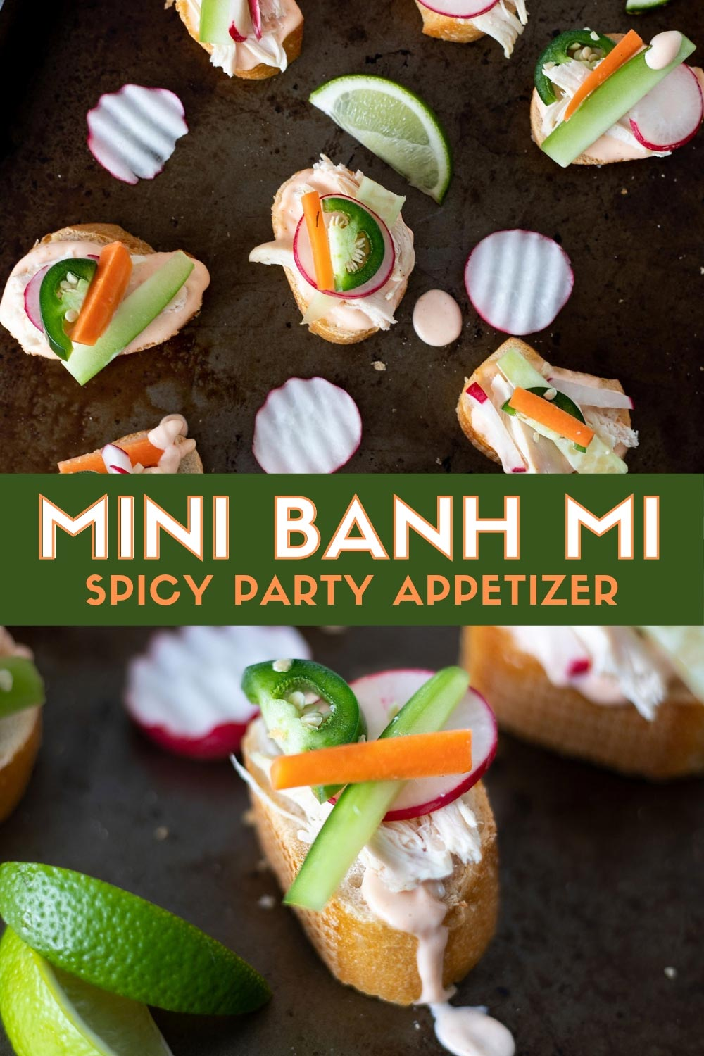 Mini Banh Mi sandwiches are the perfect appetizer for game day or party food. This take on the Veitmenease classic uses leftover rotisserie chicken to make a spicy finger food. #BanhMi #Gameday #Appetizer #PartyFood #MiniFood #PartyRecipe #ElleTalk