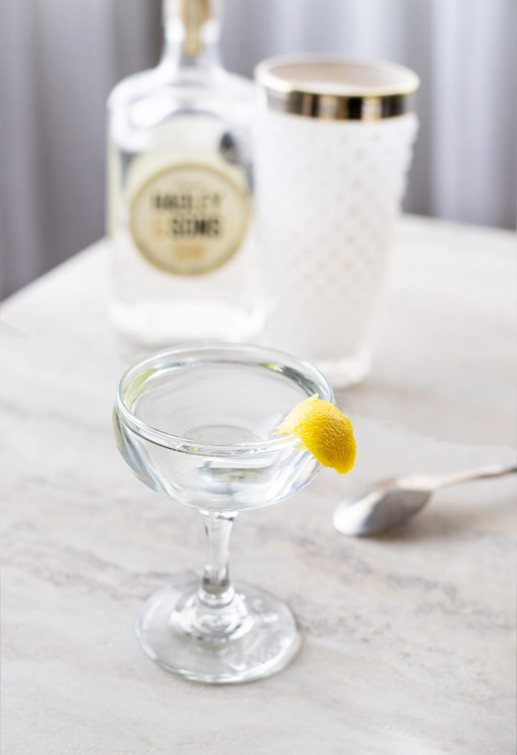 Elle Talk's classic Gin Martini recipe using London Dry Gin, dry vermouth, and orange bitters. It's a wet gin martini that's stirred. #gin #cocktail #cocktailrecipe #martini #gincocktail