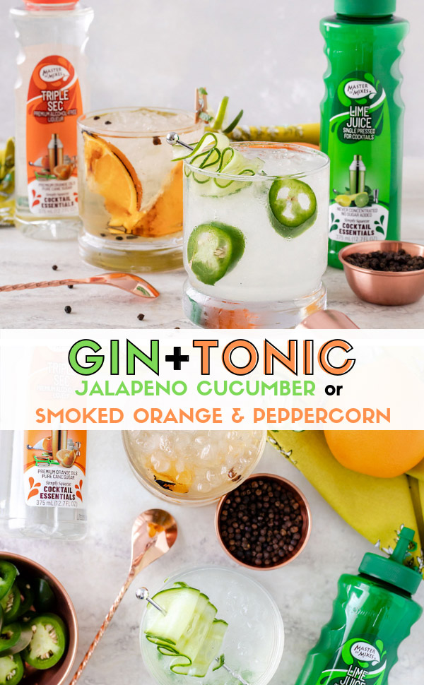 Gin & Tonic recipe made two ways. Grab this spicy cocktail for a Jalapeno Cucumber Gin & Tonic or this bitter cocktail recipe for a Smoked Sweet Orange and Peppercorn Gin & Tonic. These gin cocktails are easy cocktail recipes with a lot of flavor, thanks to Master of Mixes Cocktail Essentials! #sponsored #ElleTalk #MasterofMixes #CocktailRecipe #DrinkRecipe #Gin #GinCocktail