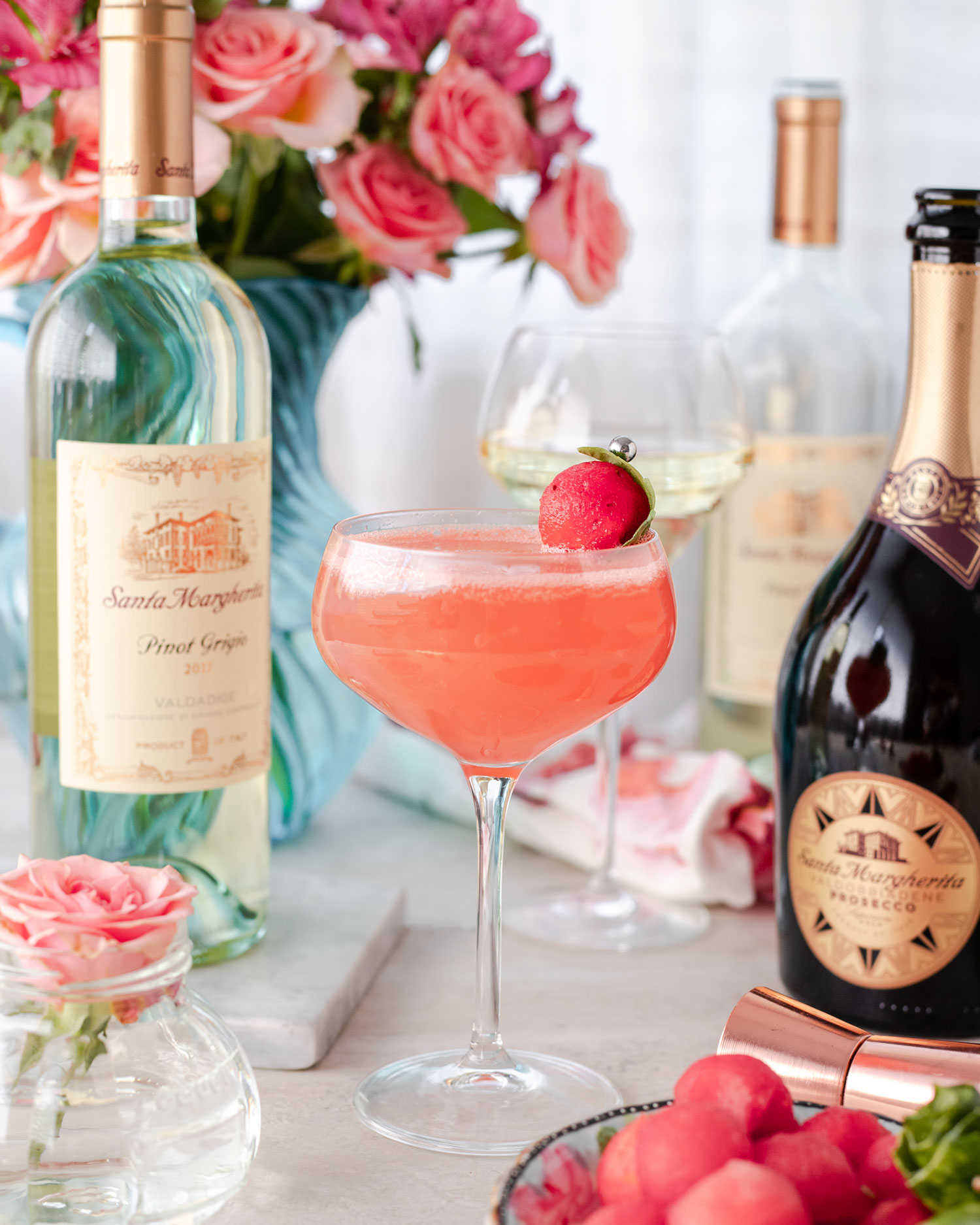 Msg 4 21+ Prosecco Watermelon Basil Sparkler Wine Cocktail is made with fresh watermelon, basil, tequila, and Santa Margherita wine. Find out how I happy hour for #NationalWineDay with this tequila and wine cocktail. #ad #SipTheSummer #UncorkExtraordinary #SantaMargheritaWines #ElleTalk #Tequila #TequilaDrink #Wine #WineCocktail #CocktailRecipe