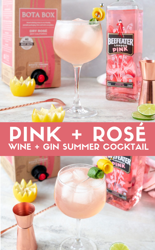 Pink and Rosé is a cocktail made with Beefeater Pink Gin and Rosé wine for a refreshing summer cocktail just in time for #NationalRoséDay. #Rosé #CocktailRecipe #DrinkRecipe #Gin #ginCocktail #BeefeaterPink