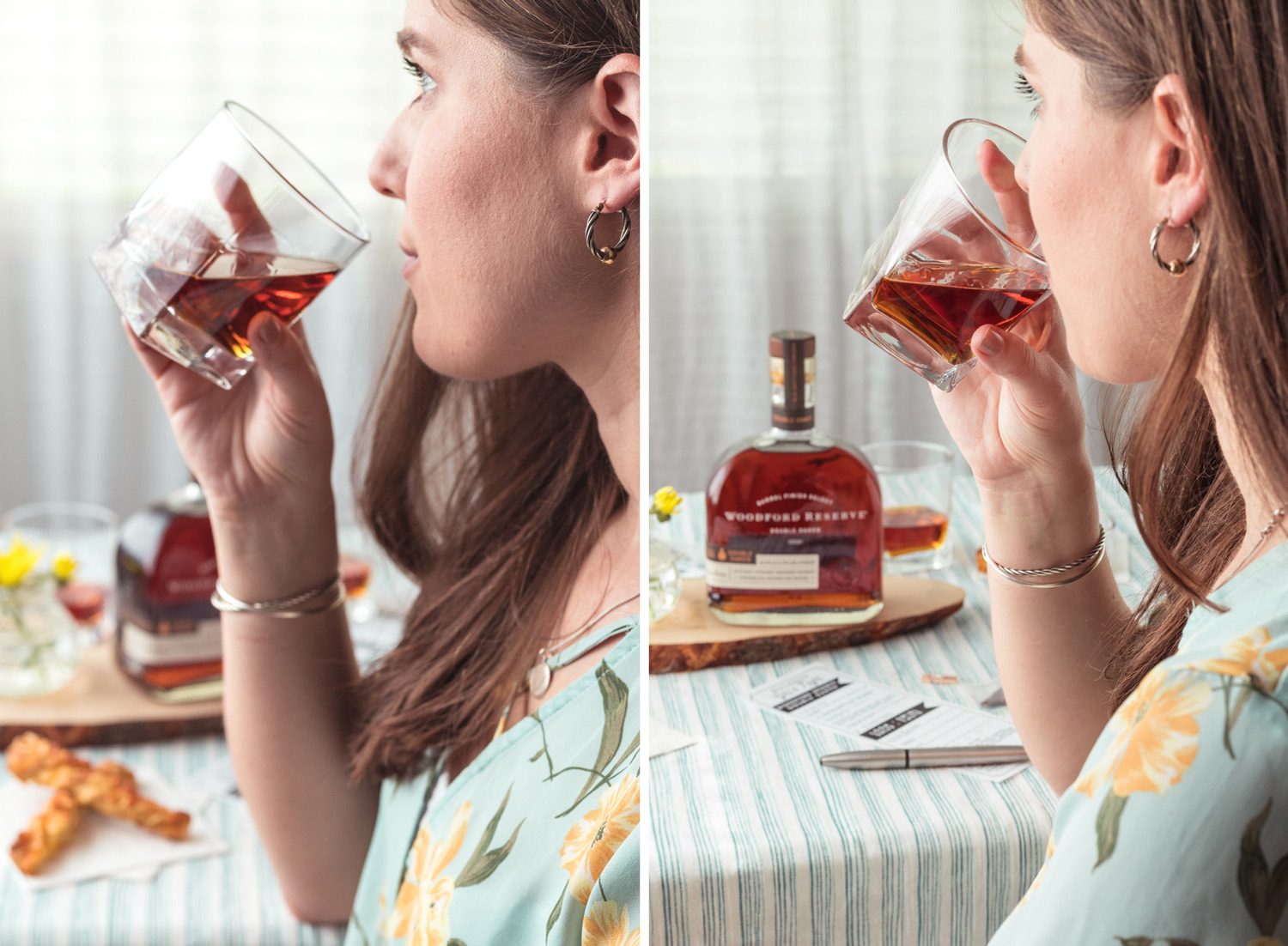 Bourbon Gal's Night Idea with Woodford Reserve! Throw a bourbon themed Girl's Night and to learn more about bourbon with bourbon food pairings (Dark Chocolate Almond and Ginger Bark & 3 Cheese Pretzel Twist), bourbon fact sheets, and bourbon tasting. Free Printable included with this entertaining ideas! #sponsored #ElleTalk #Bourbon #WoodfordReserve #GirlsNight #EntertainingIdeas