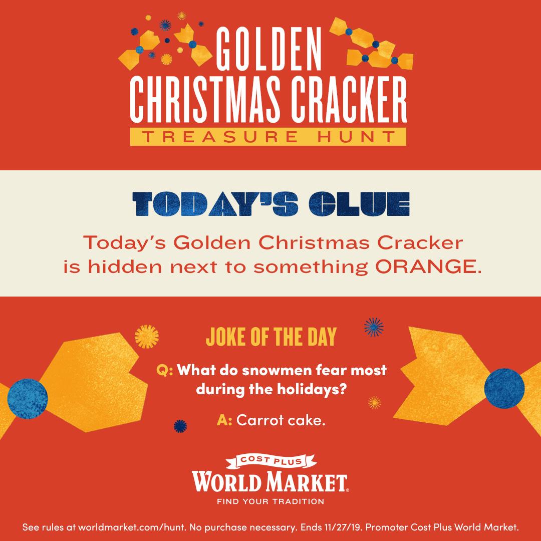 World Market Golden Christmas Cracker Clue 1